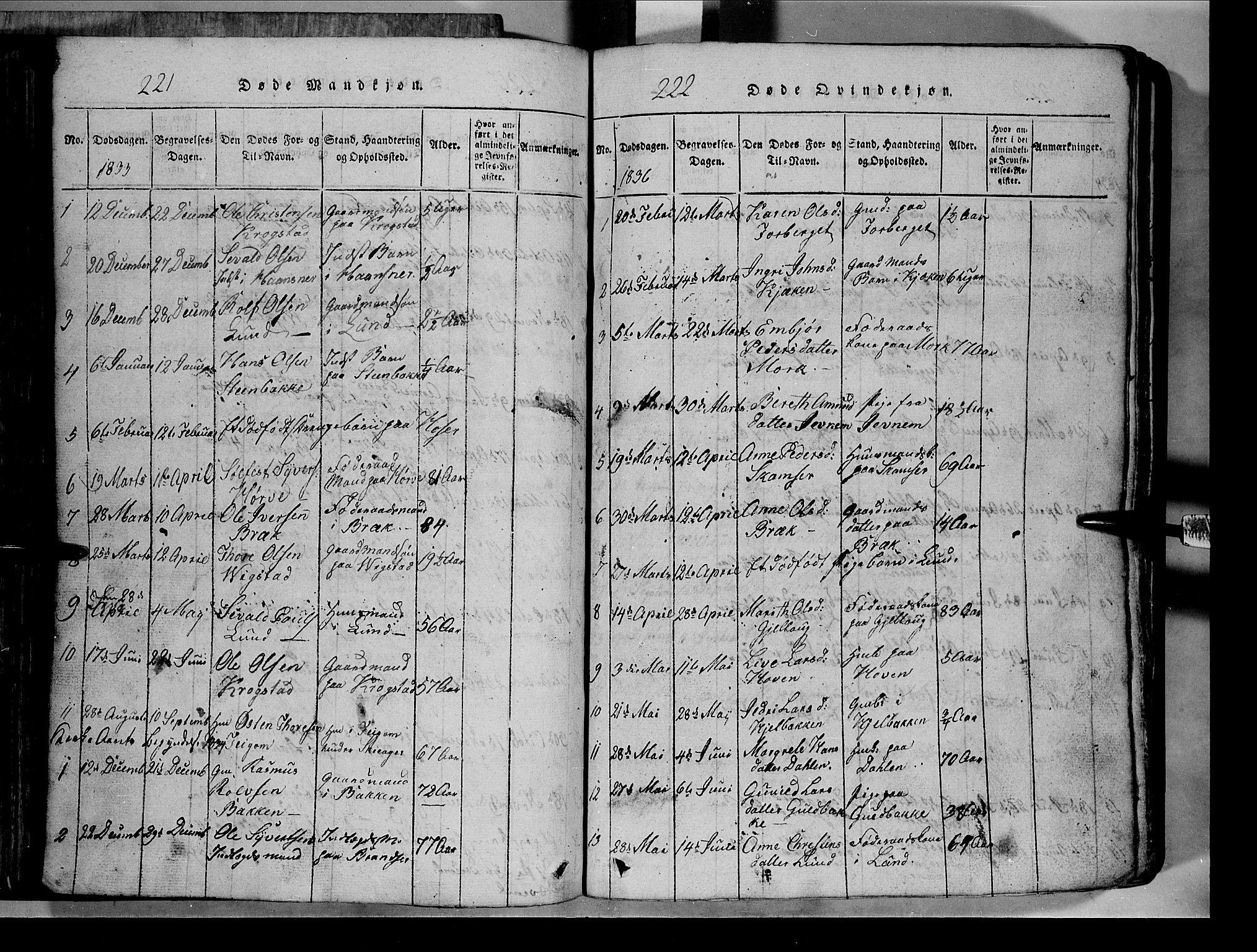 SAH, Lom prestekontor, L/L0003: Klokkerbok nr. 3, 1815-1844, s. 221-222