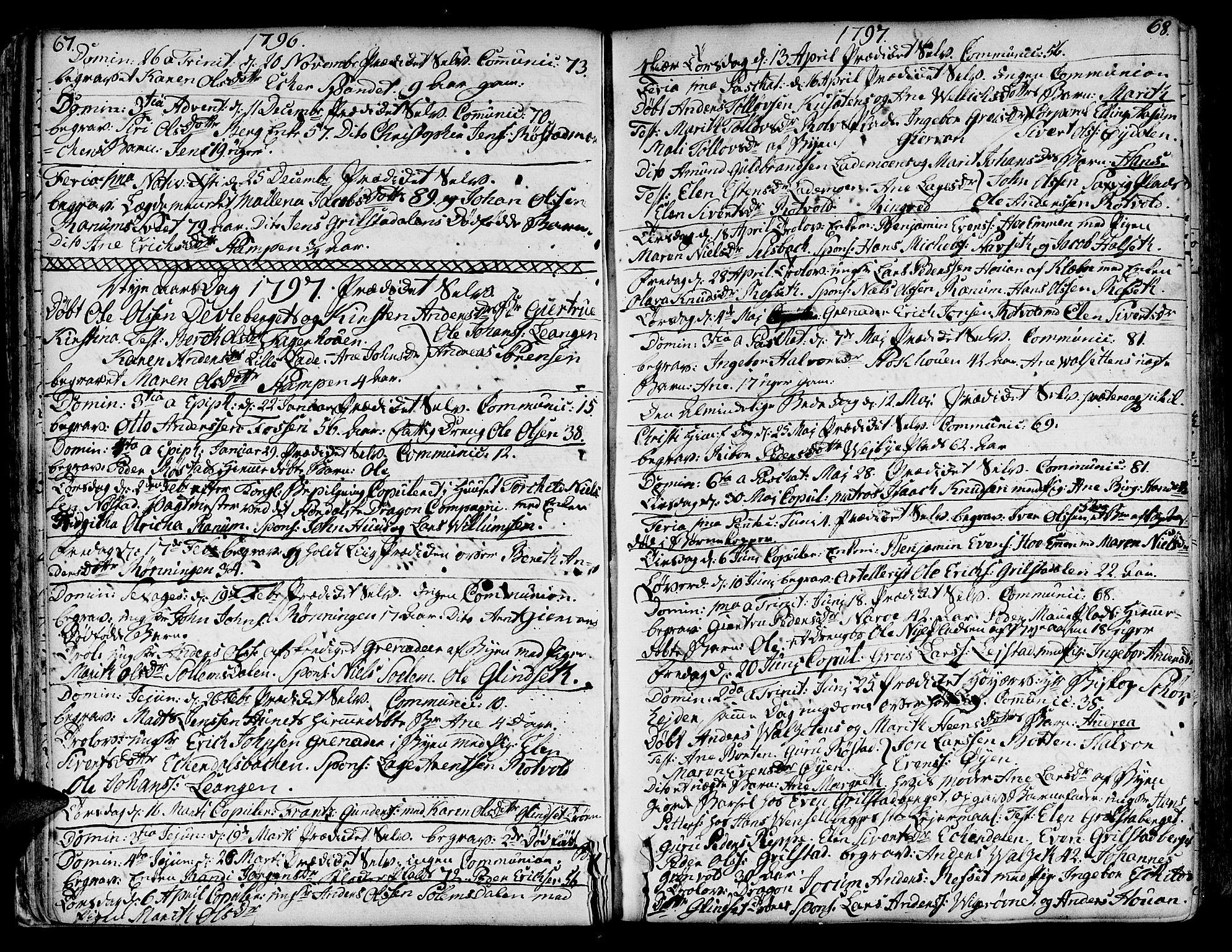 SAT, Ministerialprotokoller, klokkerbøker og fødselsregistre - Sør-Trøndelag, 606/L0280: Ministerialbok nr. 606A02 /1, 1781-1817, s. 67-68