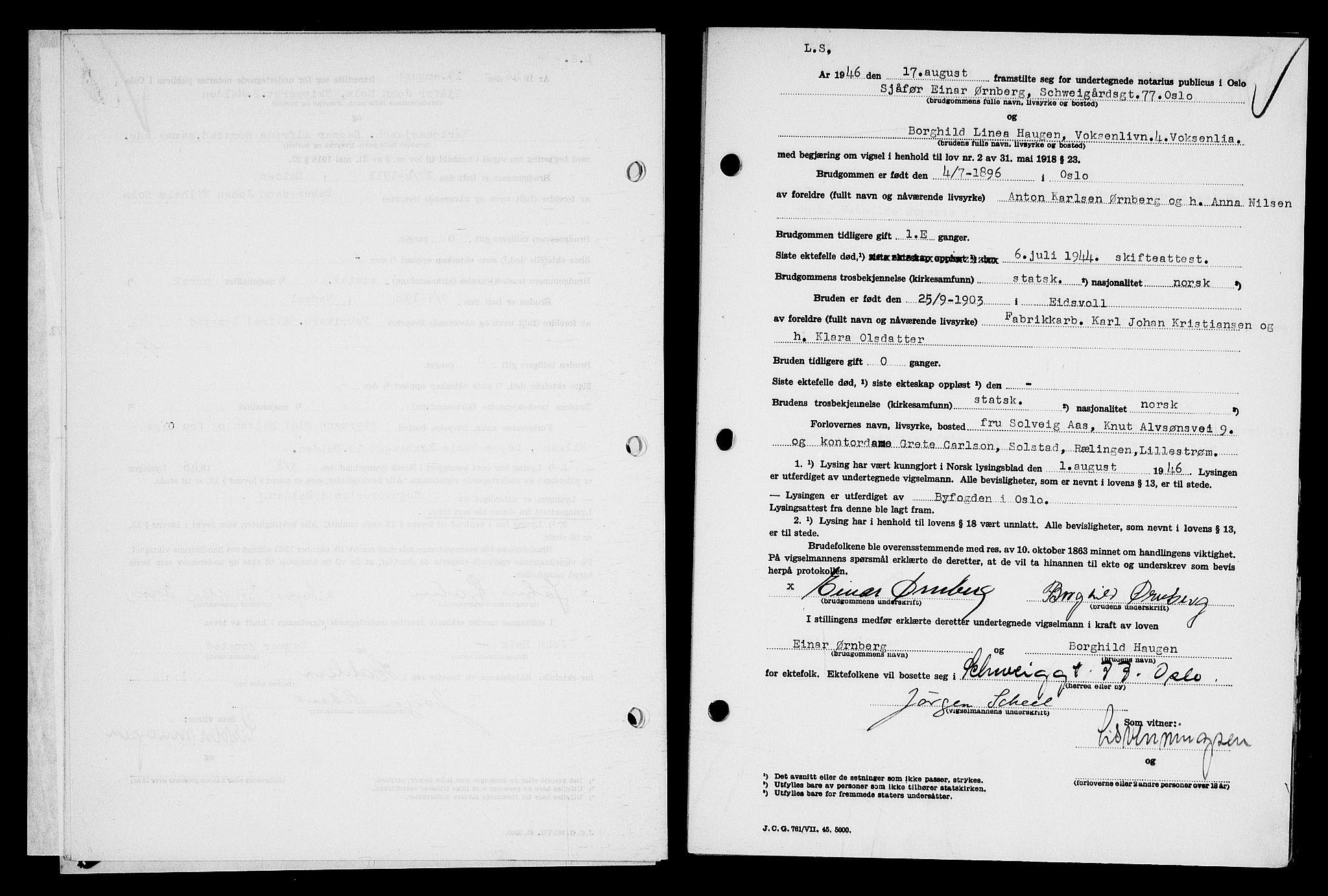 SAO, Oslo byfogd avd. I, L/Lb/Lbb/L0057: Notarialprotokoll, rekke II: Vigsler, 1946