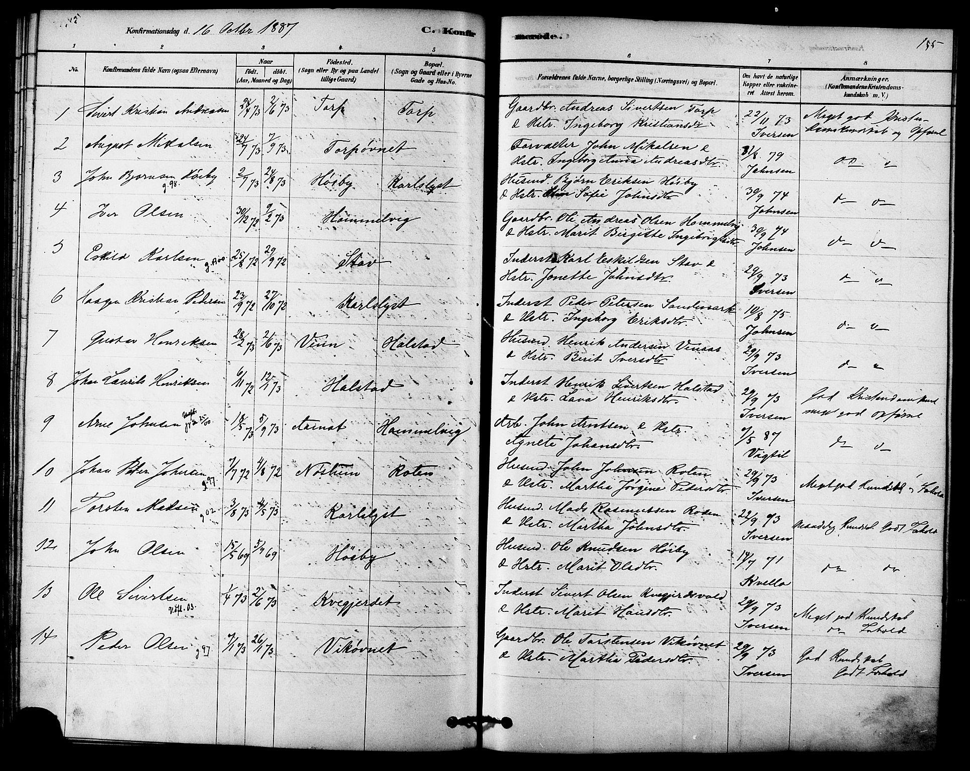SAT, Ministerialprotokoller, klokkerbøker og fødselsregistre - Sør-Trøndelag, 616/L0410: Ministerialbok nr. 616A07, 1878-1893, s. 155