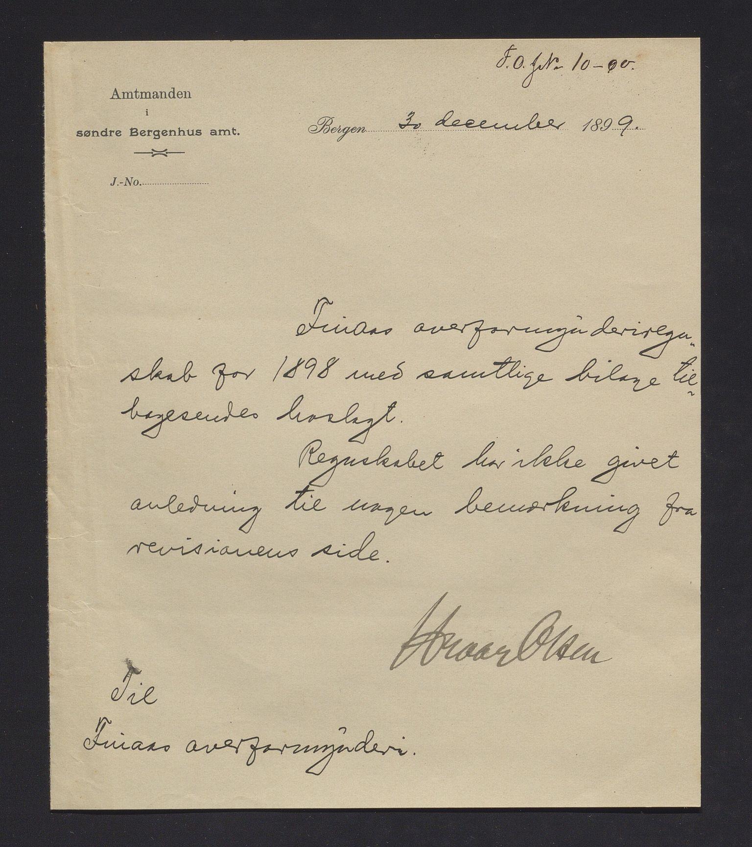 IKAH, Finnaas kommune. Overformynderiet, R/Ra/Raa/L0006: Årlege rekneskap m/vedlegg, 1898