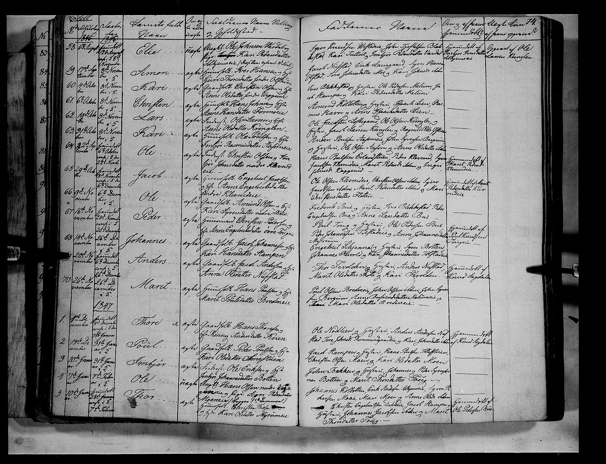 SAH, Vågå prestekontor, Ministerialbok nr. 5 /3, 1842-1856, s. 74
