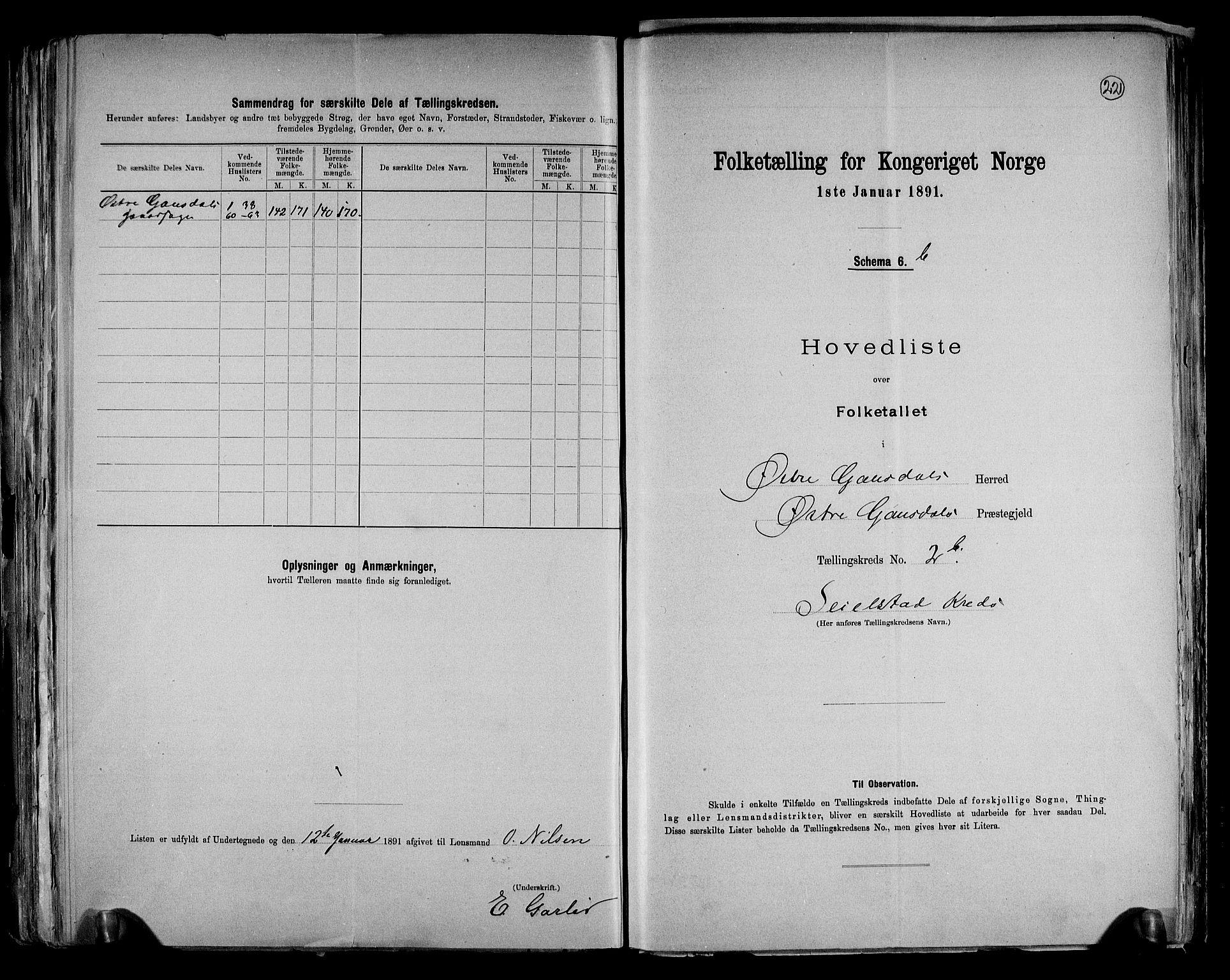 RA, Folketelling 1891 for 0522 Østre Gausdal herred, 1891, s. 12