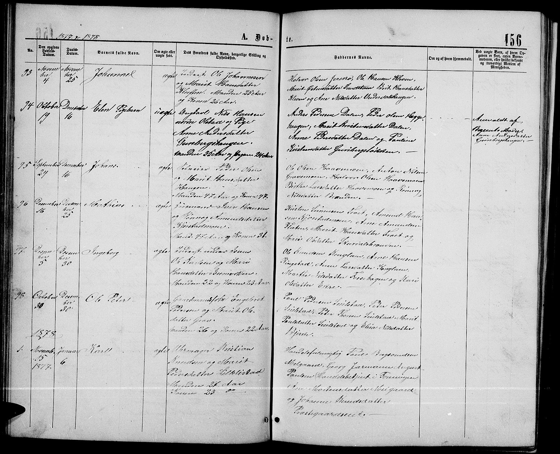 SAH, Sør-Fron prestekontor, H/Ha/Hab/L0002: Klokkerbok nr. 2, 1864-1883, s. 156
