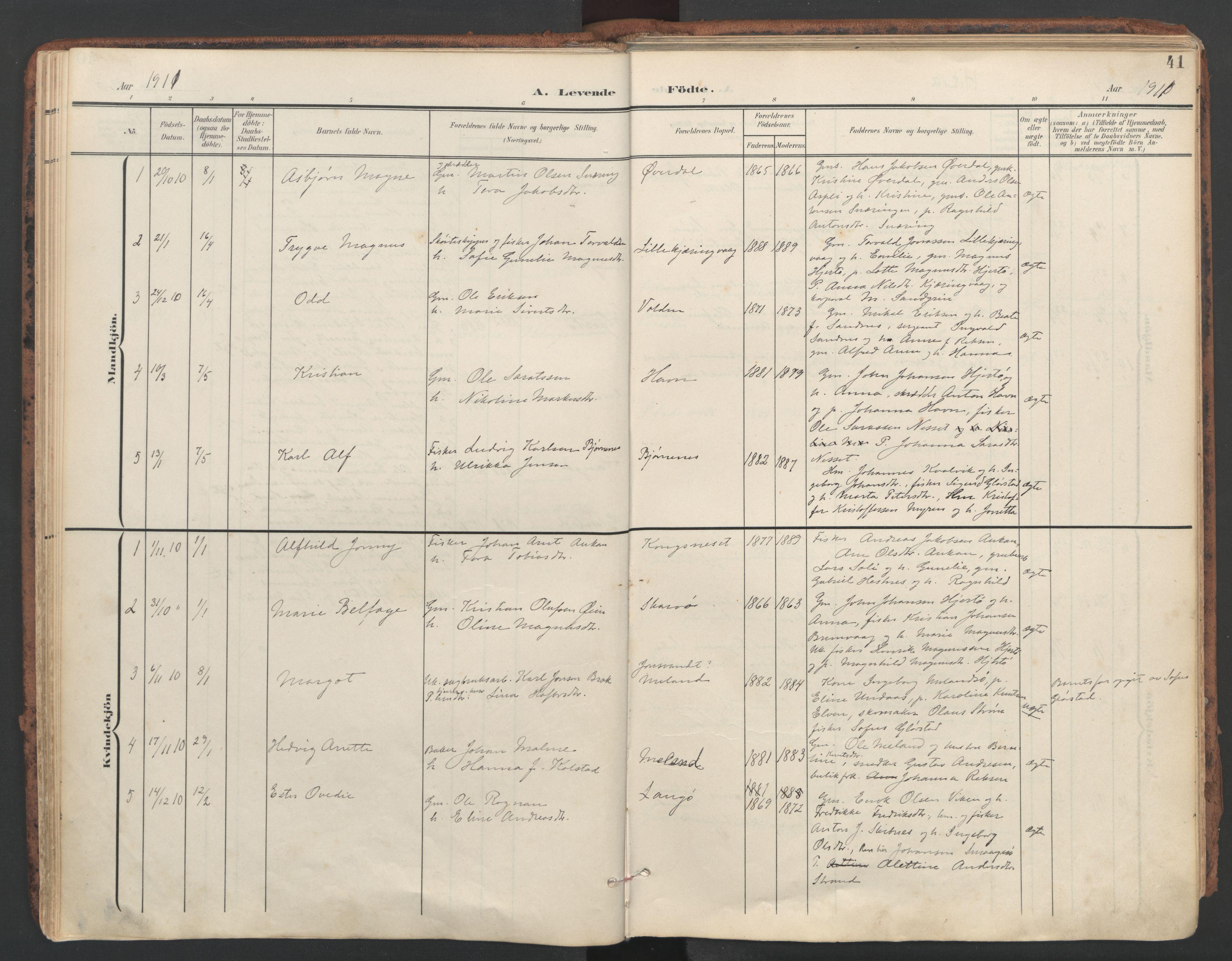 SAT, Ministerialprotokoller, klokkerbøker og fødselsregistre - Sør-Trøndelag, 634/L0537: Ministerialbok nr. 634A13, 1896-1922, s. 41