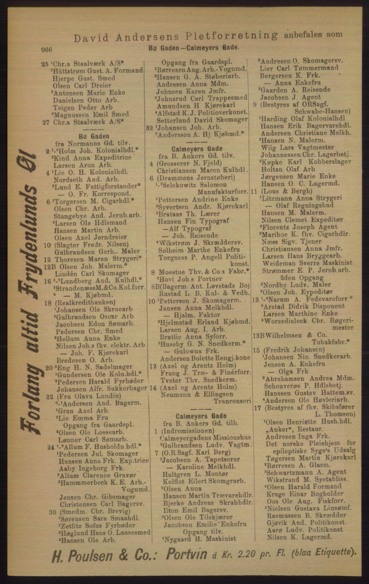 PUBL, Kristiania/Oslo adressebok, 1906, s. 966