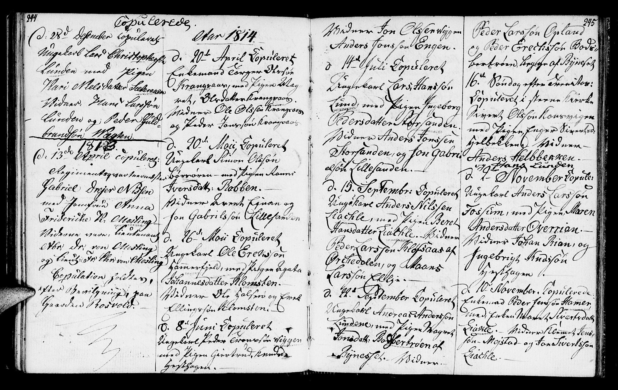 SAT, Ministerialprotokoller, klokkerbøker og fødselsregistre - Sør-Trøndelag, 665/L0769: Ministerialbok nr. 665A04, 1803-1816, s. 244-245