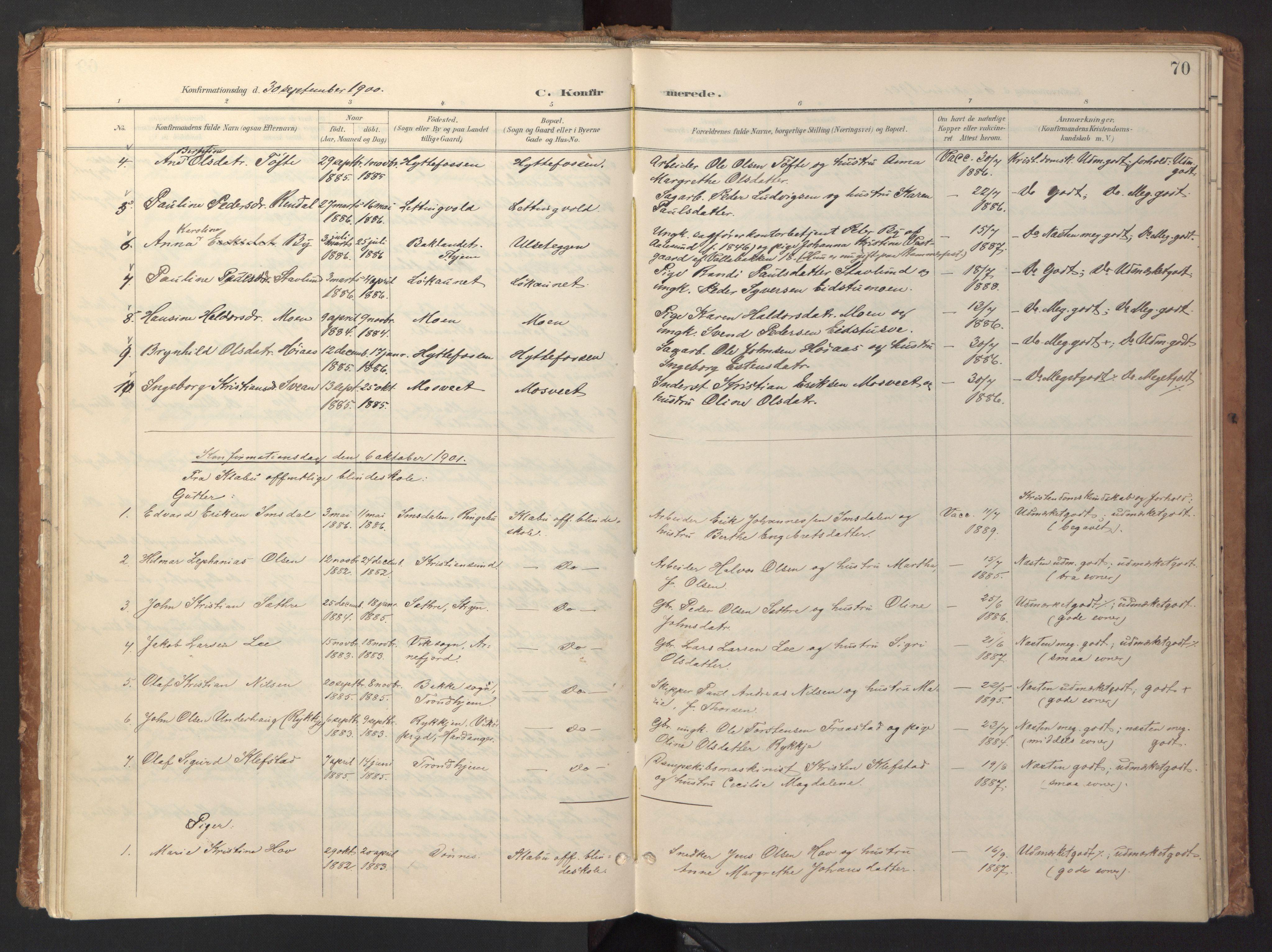SAT, Ministerialprotokoller, klokkerbøker og fødselsregistre - Sør-Trøndelag, 618/L0448: Ministerialbok nr. 618A11, 1898-1916, s. 70