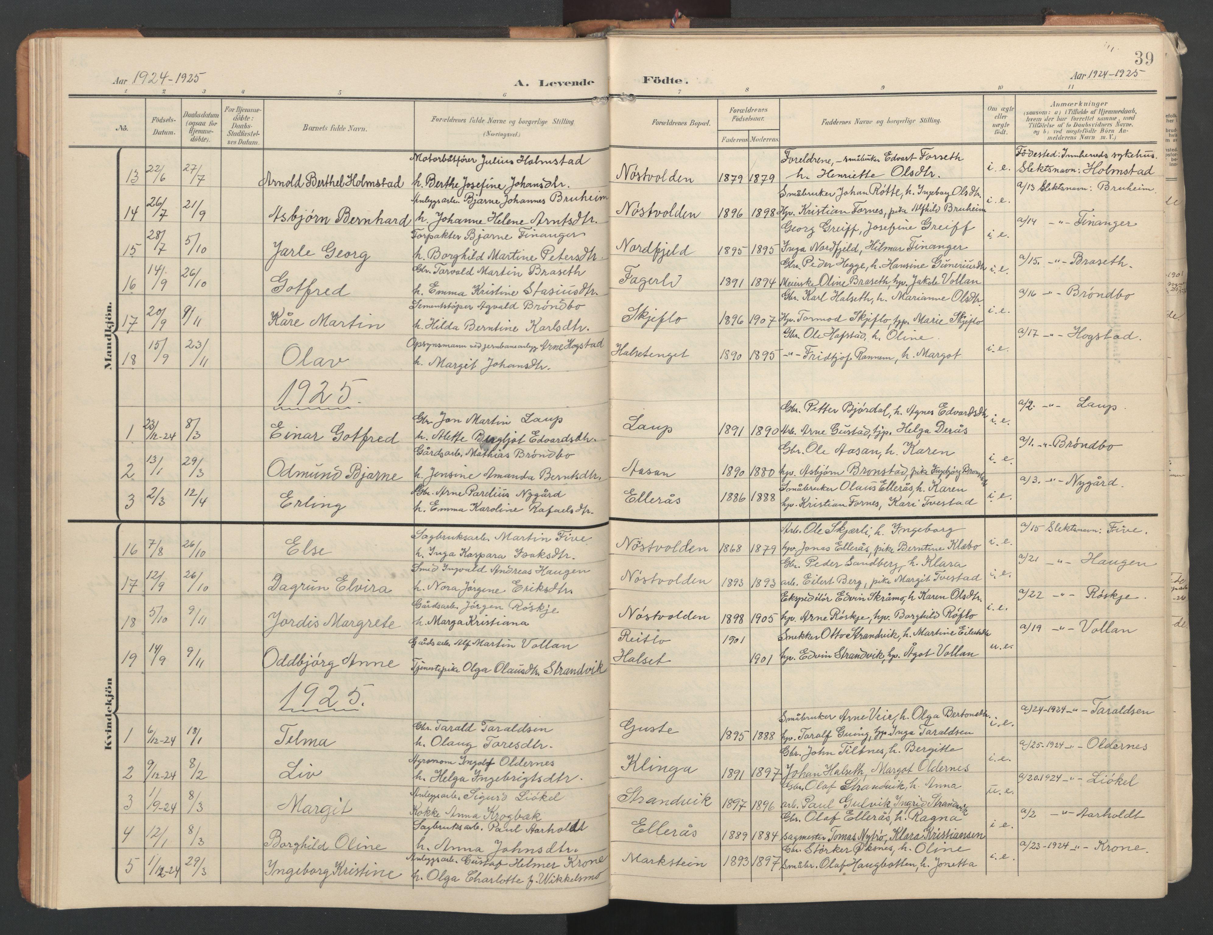SAT, Ministerialprotokoller, klokkerbøker og fødselsregistre - Nord-Trøndelag, 746/L0455: Klokkerbok nr. 746C01, 1908-1933, s. 39
