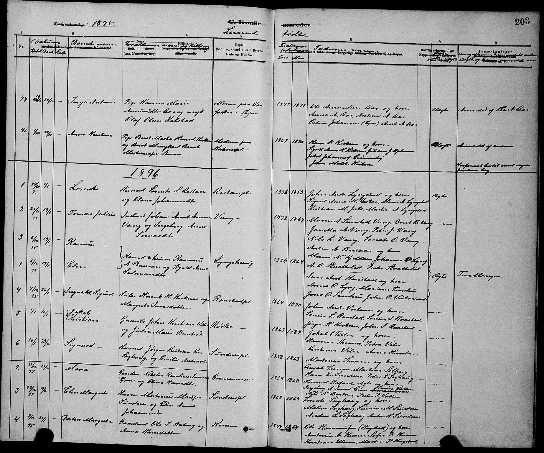 SAT, Ministerialprotokoller, klokkerbøker og fødselsregistre - Nord-Trøndelag, 730/L0301: Klokkerbok nr. 730C04, 1880-1897, s. 203