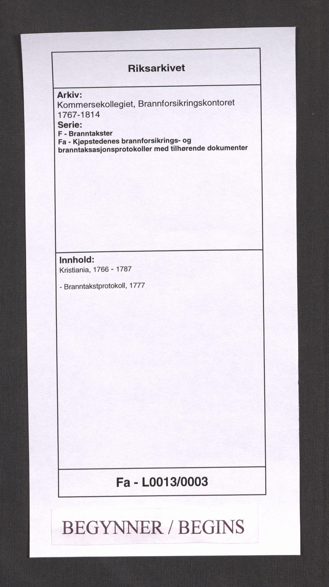 RA, Kommersekollegiet, Brannforsikringskontoret 1767-1814, F/Fa/L0013: Kristiania, 1777