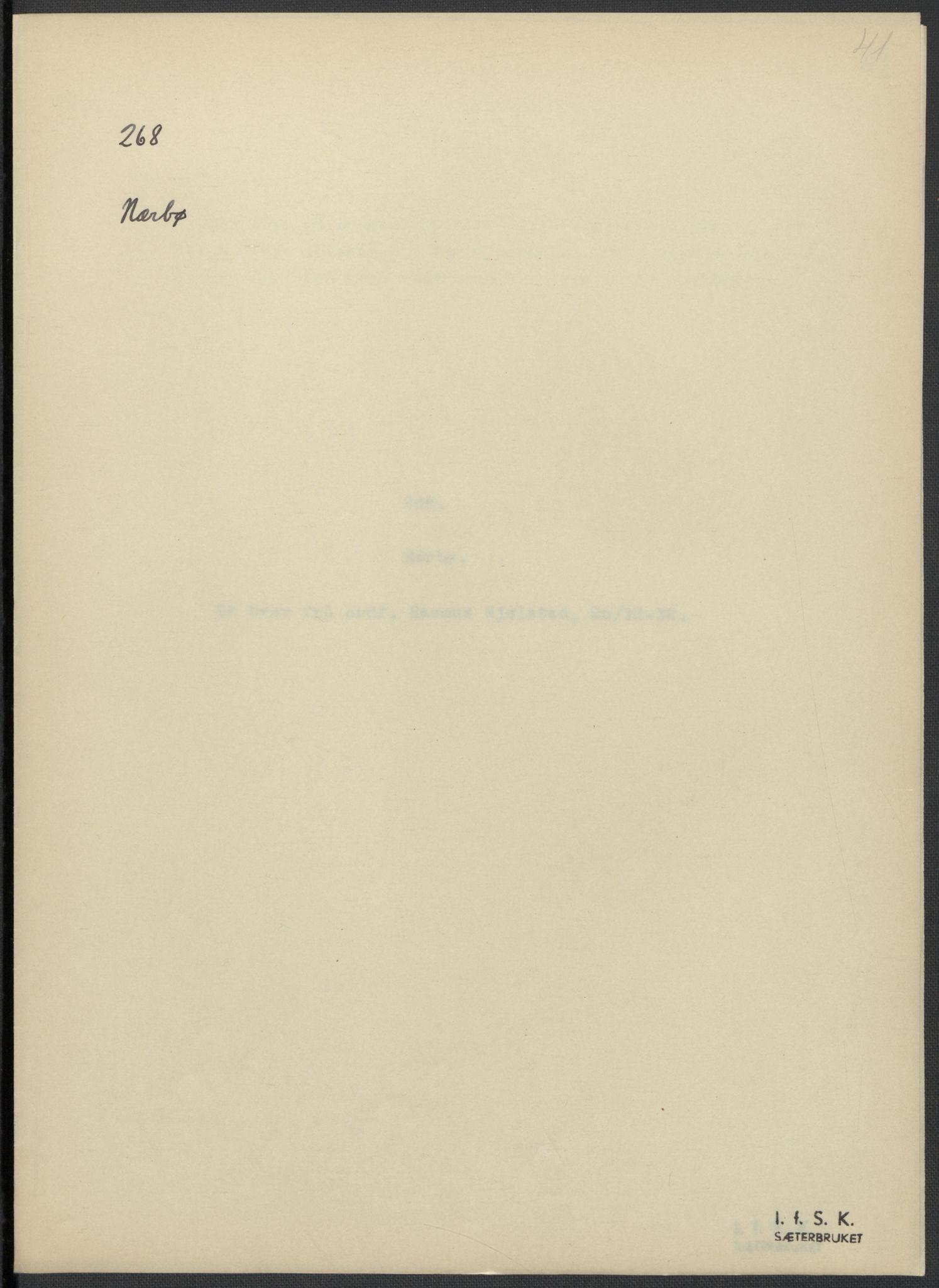 RA, Instituttet for sammenlignende kulturforskning, F/Fc/L0009: Eske B9:, 1932-1935, s. 41