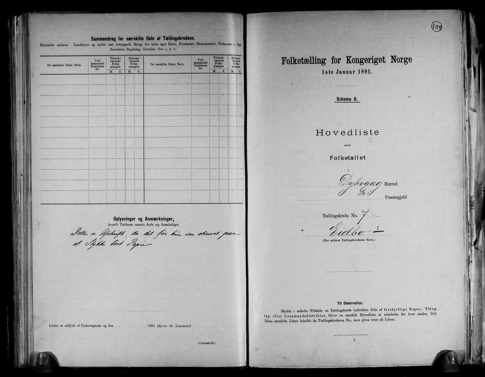 RA, Folketelling 1891 for 0915 Dypvåg herred, 1891, s. 21