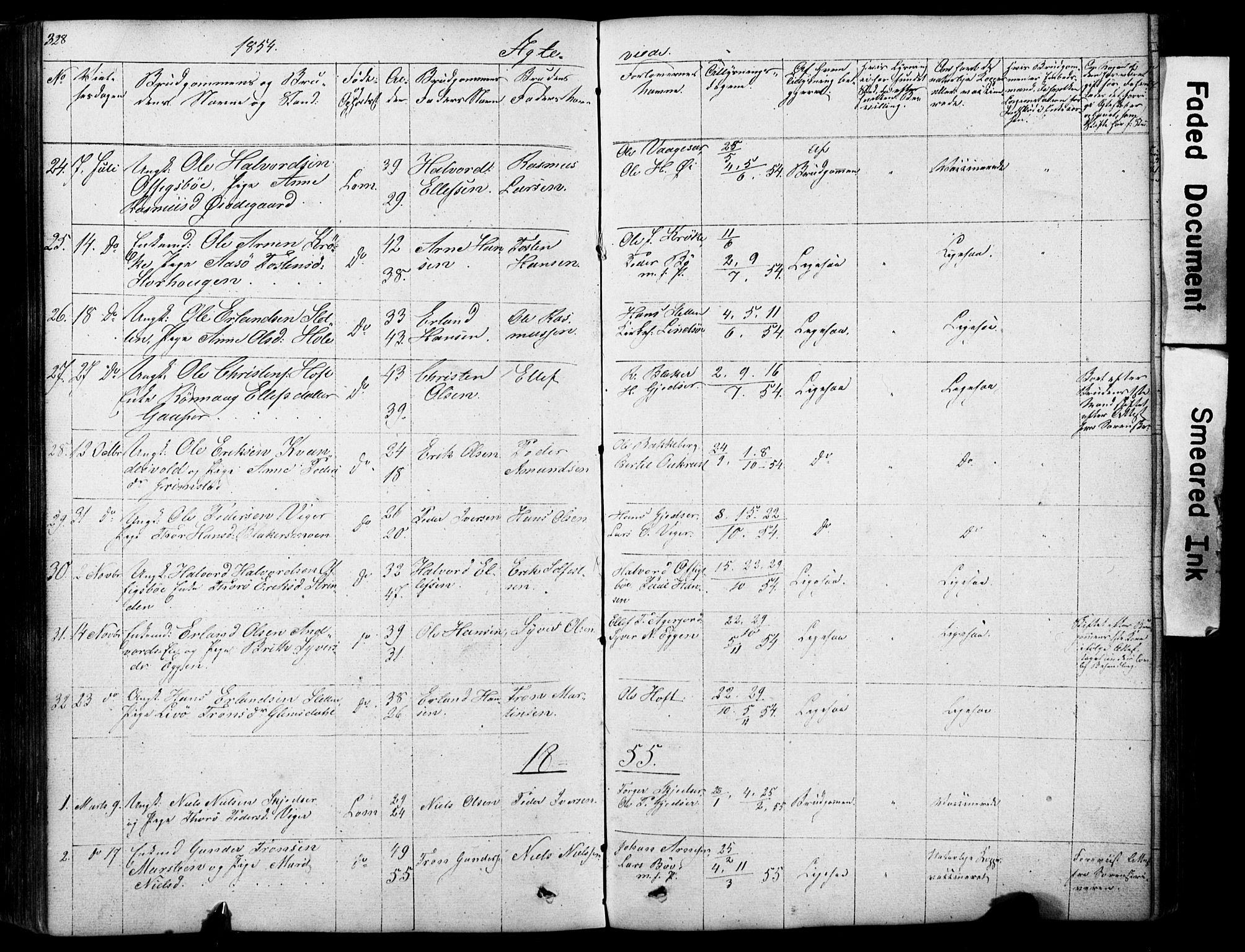 SAH, Lom prestekontor, L/L0012: Klokkerbok nr. 12, 1845-1873, s. 328-329