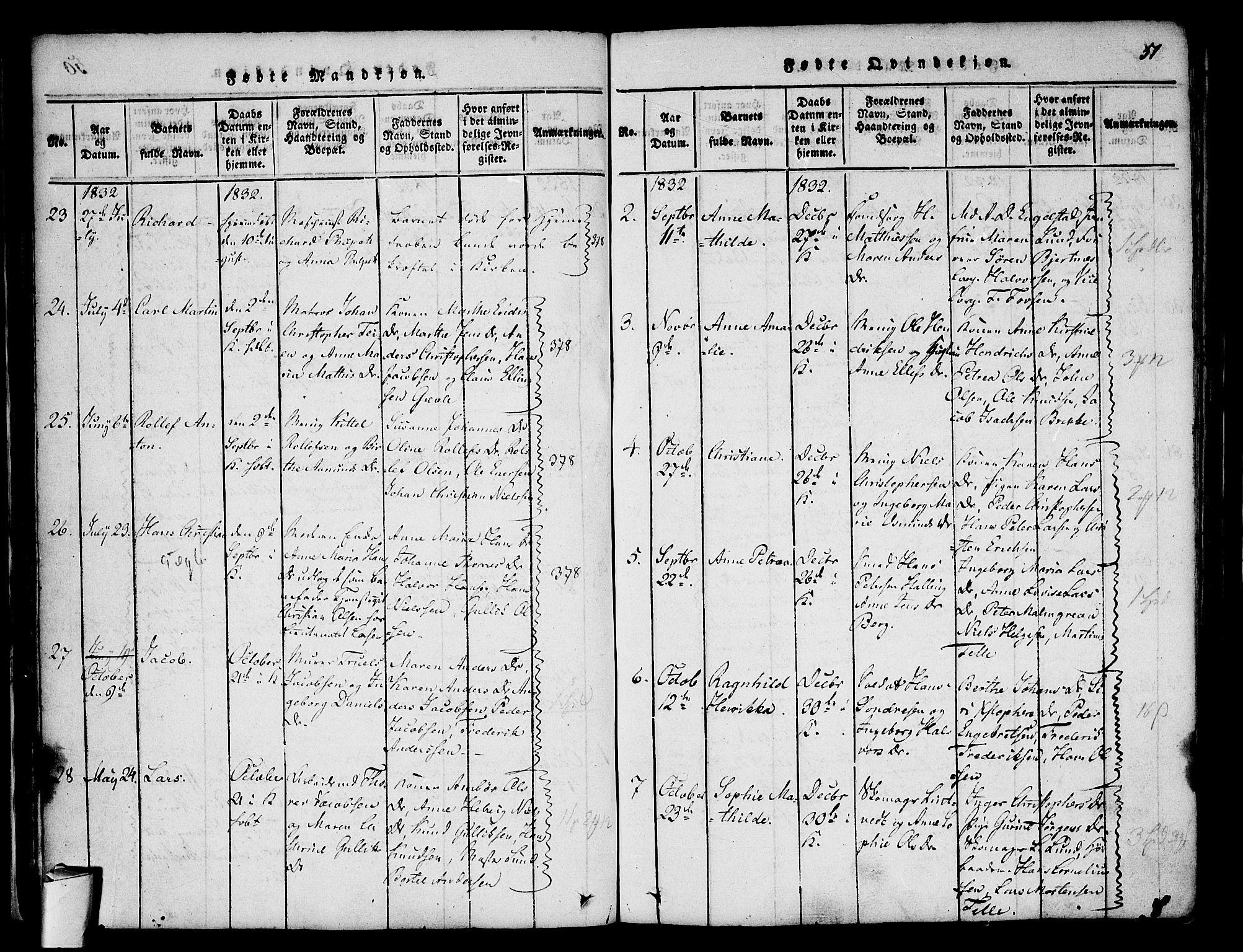SAKO, Stavern kirkebøker, F/Fa/L0006: Ministerialbok nr. 6, 1816-1839, s. 51