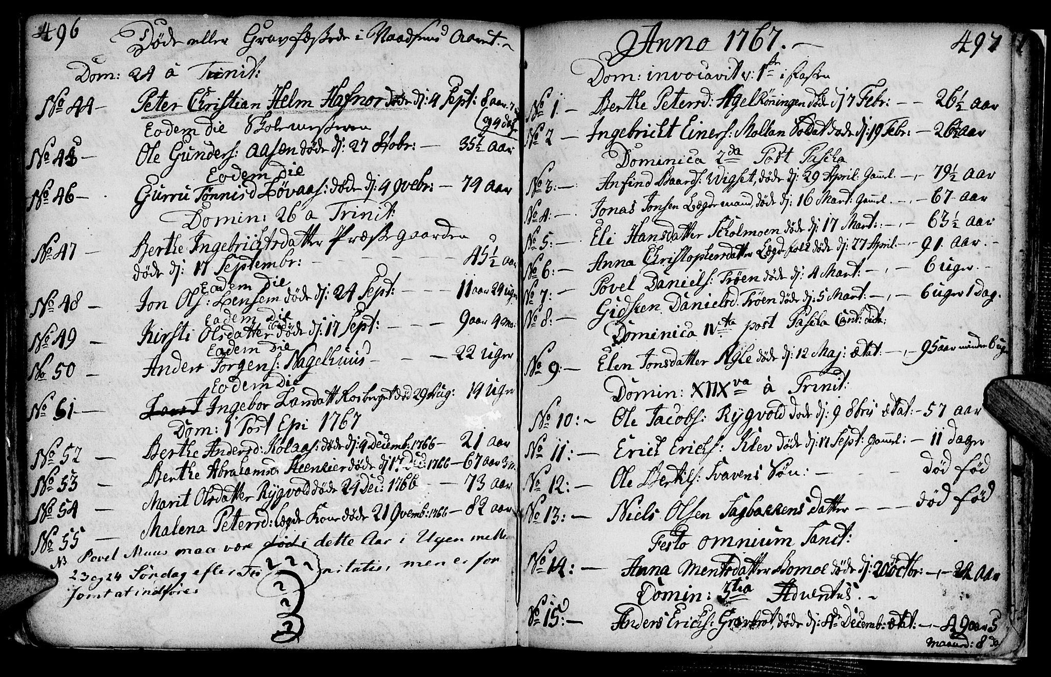 SAT, Ministerialprotokoller, klokkerbøker og fødselsregistre - Nord-Trøndelag, 749/L0467: Ministerialbok nr. 749A01, 1733-1787, s. 496-497