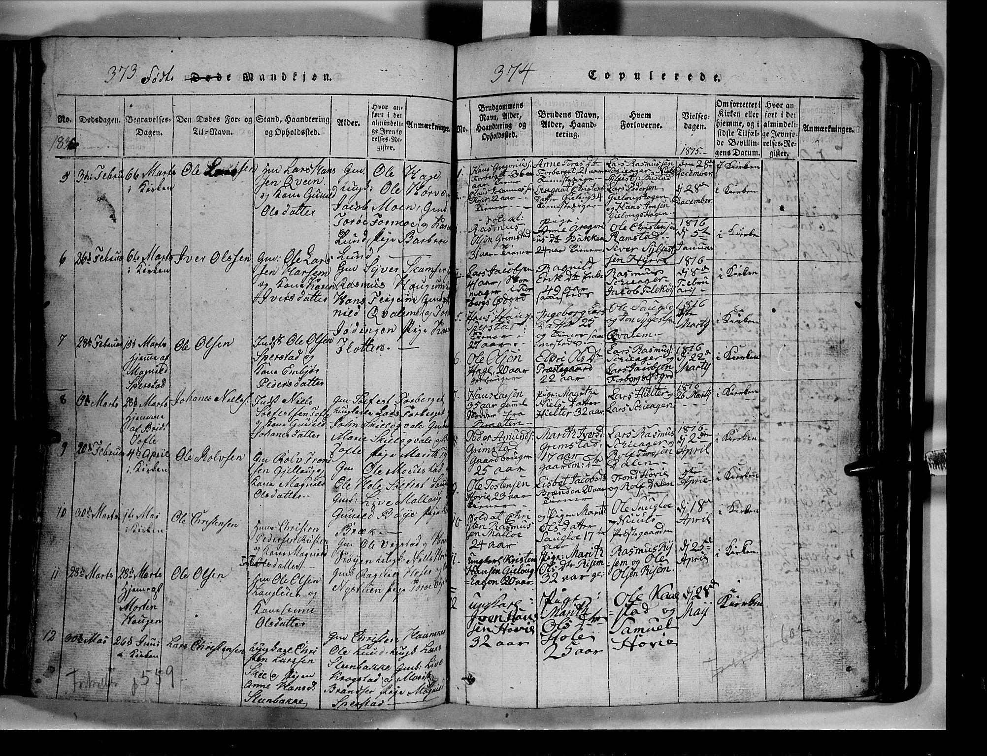 SAH, Lom prestekontor, L/L0003: Klokkerbok nr. 3, 1815-1844, s. 373-374