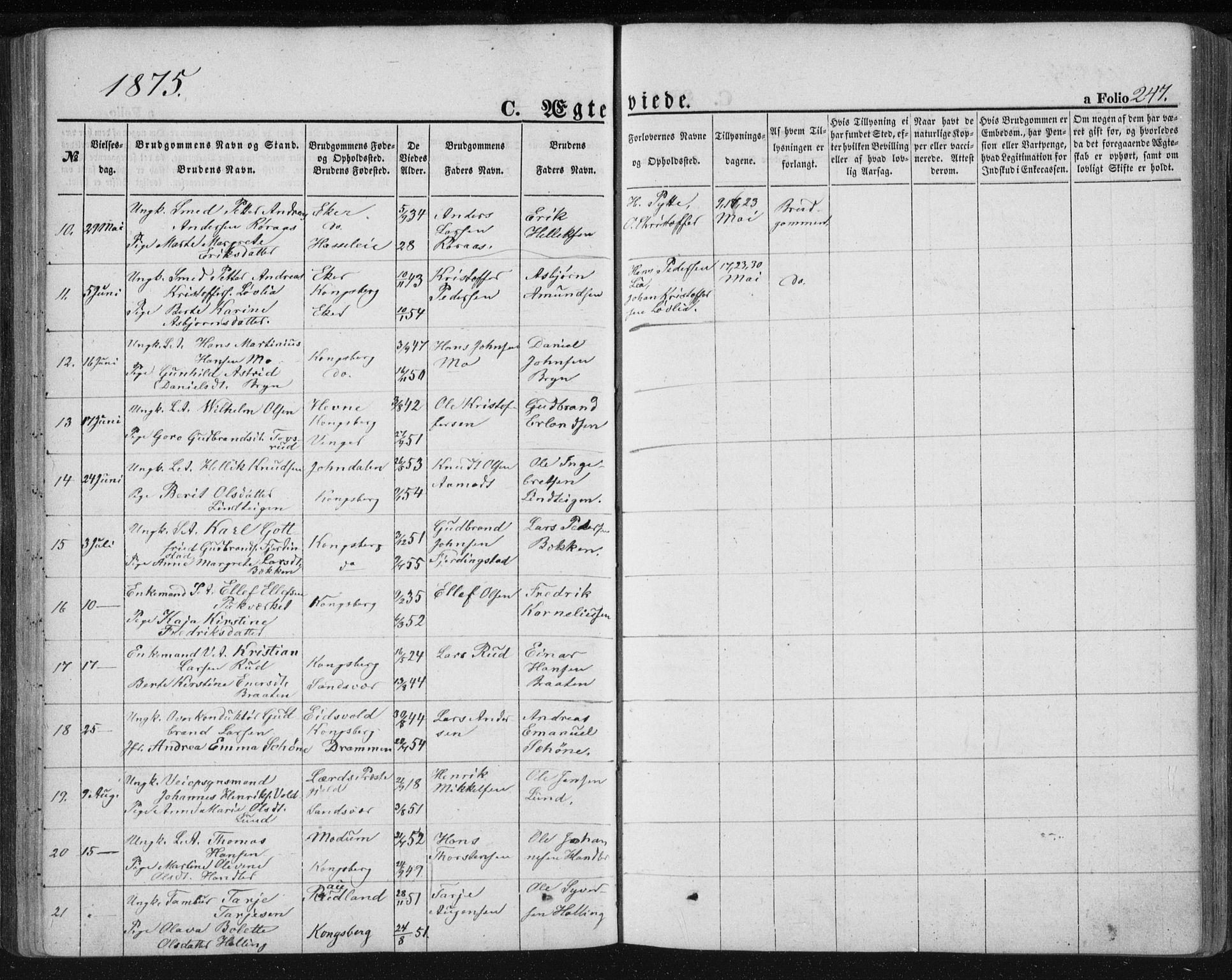 SAKO, Kongsberg kirkebøker, F/Fa/L0010: Ministerialbok nr. I 10, 1859-1875, s. 247