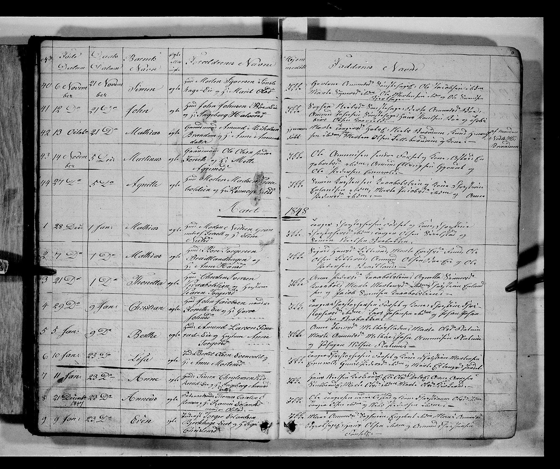SAH, Gausdal prestekontor, Klokkerbok nr. 5, 1846-1867, s. 9