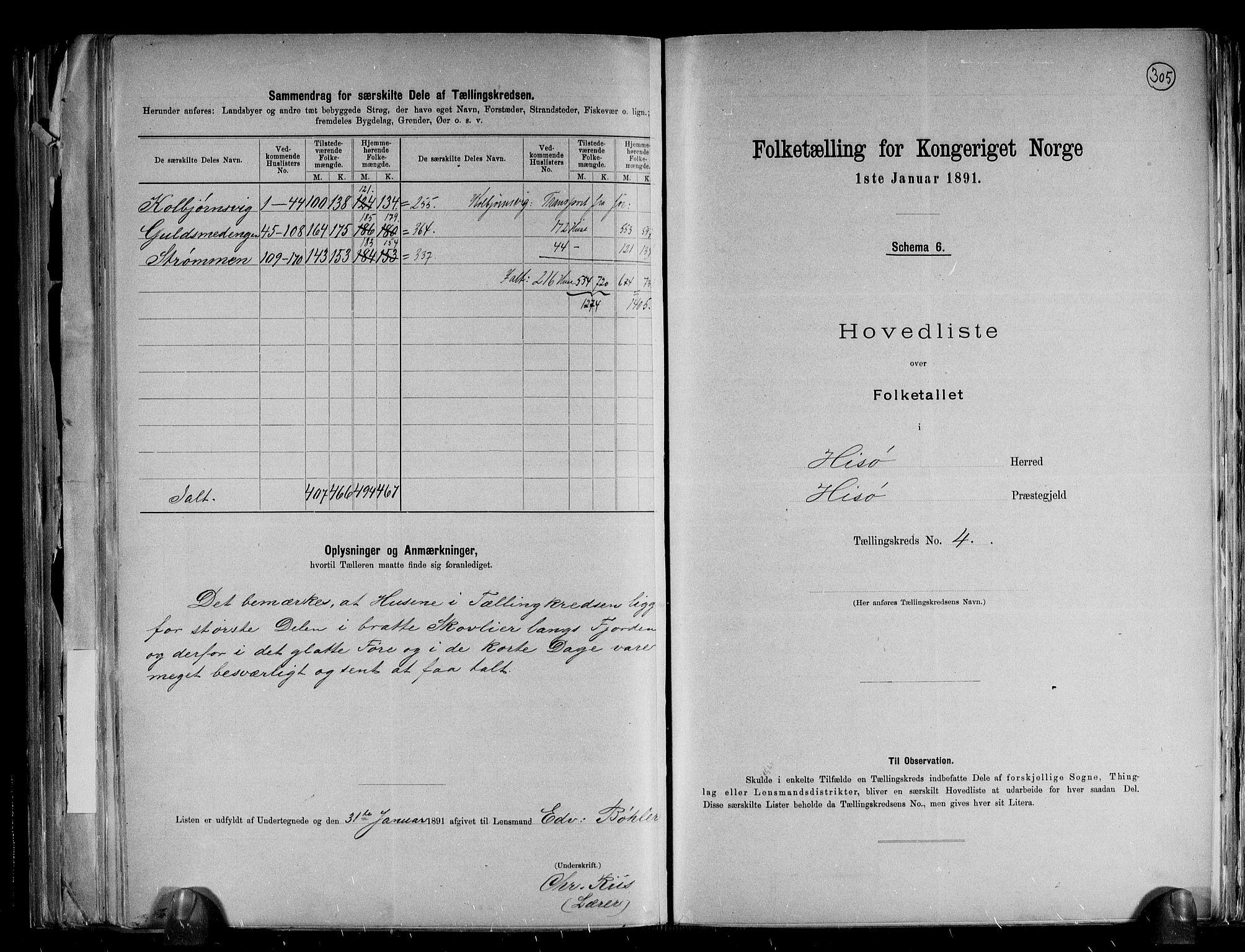 RA, Folketelling 1891 for 0922 Hisøy herred, 1891, s. 16