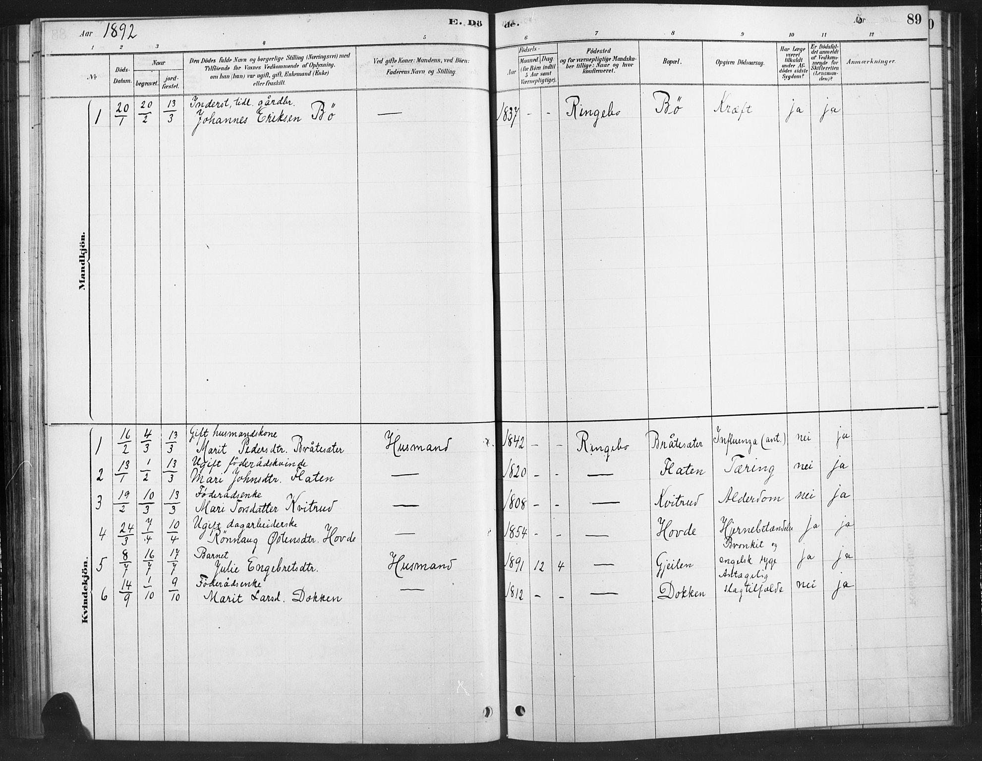 SAH, Ringebu prestekontor, Ministerialbok nr. 10, 1878-1898, s. 89