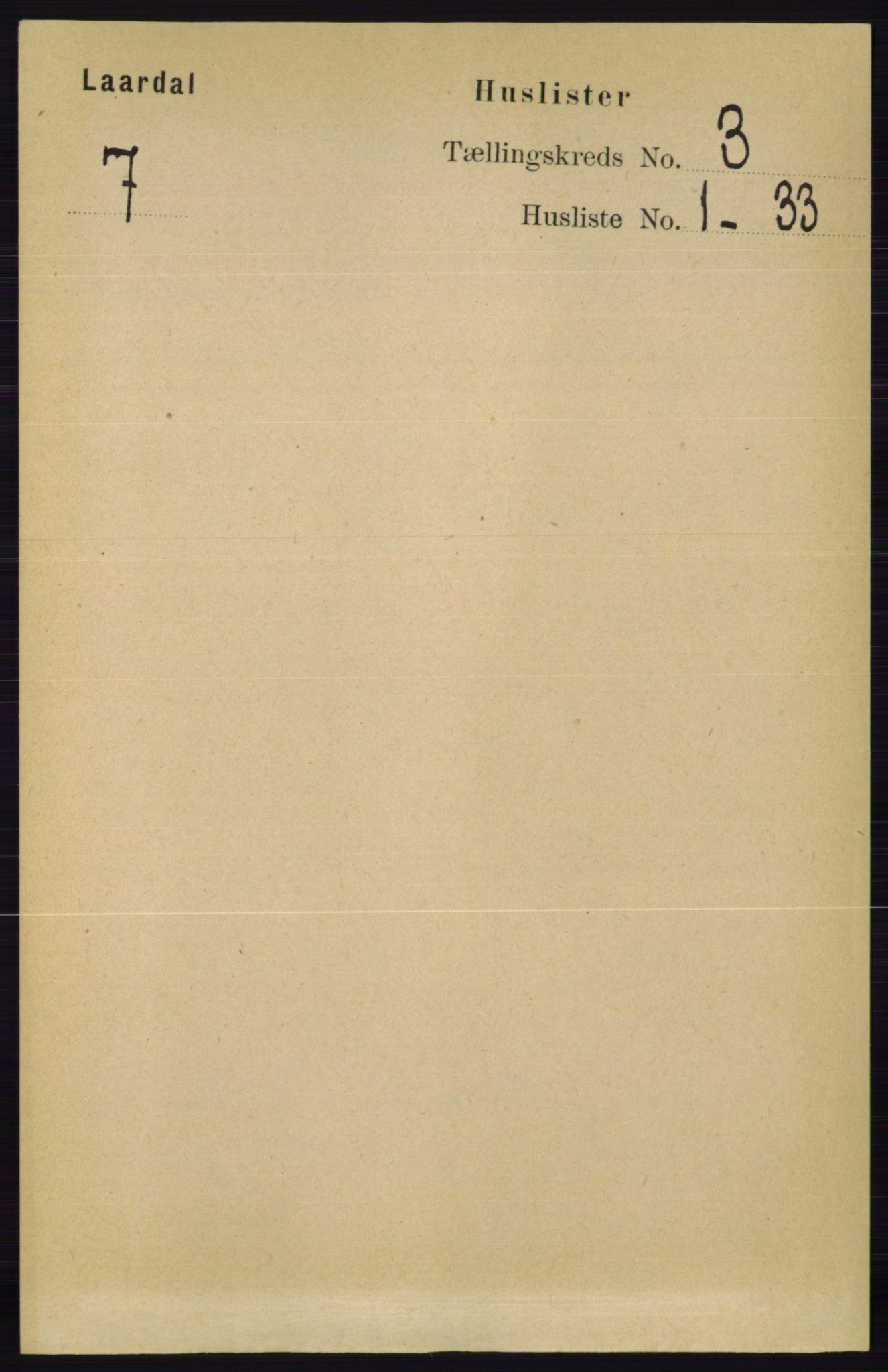 RA, Folketelling 1891 for 0833 Lårdal herred, 1891, s. 761