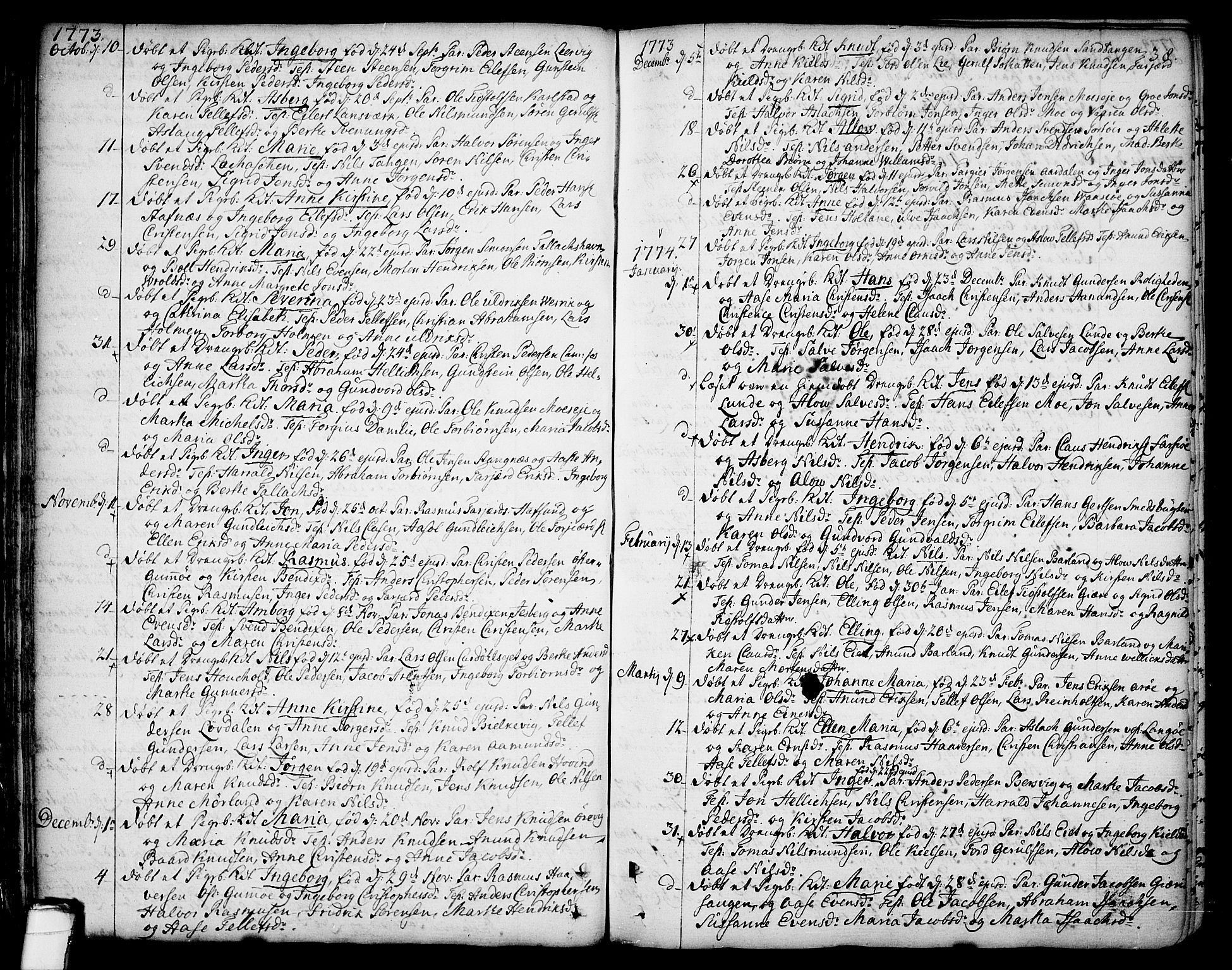 SAKO, Sannidal kirkebøker, F/Fa/L0002: Ministerialbok nr. 2, 1767-1802, s. 38