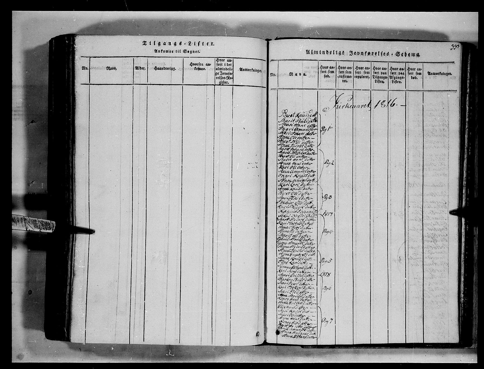 SAH, Fron prestekontor, H/Ha/Hab/L0002: Klokkerbok nr. 2, 1816-1850, s. 333