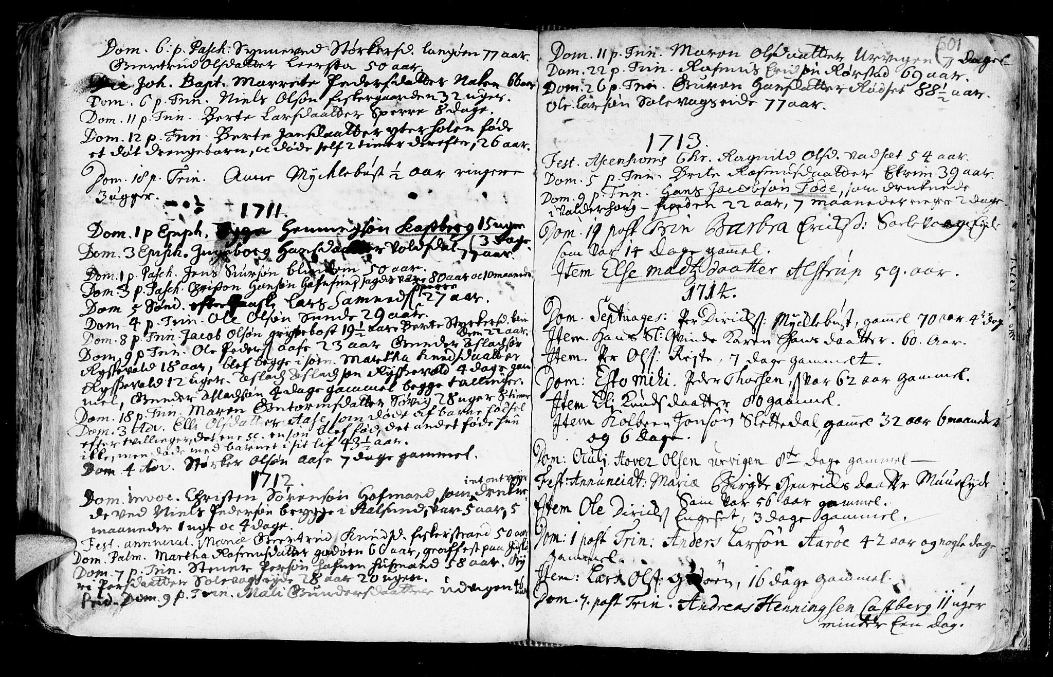 SAT, Ministerialprotokoller, klokkerbøker og fødselsregistre - Møre og Romsdal, 528/L0390: Ministerialbok nr. 528A01, 1698-1739, s. 500-501