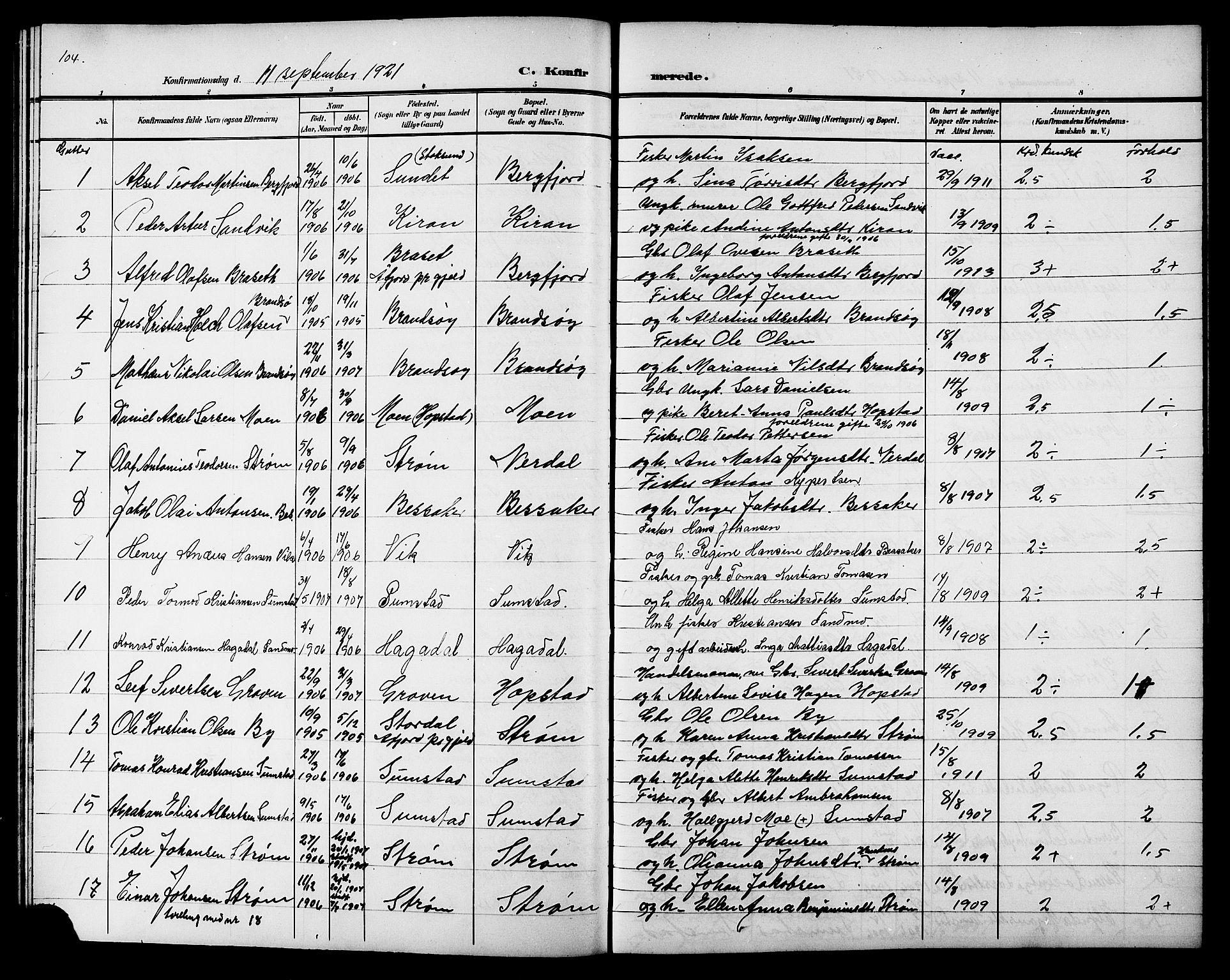 SAT, Ministerialprotokoller, klokkerbøker og fødselsregistre - Sør-Trøndelag, 657/L0717: Klokkerbok nr. 657C04, 1904-1923, s. 104
