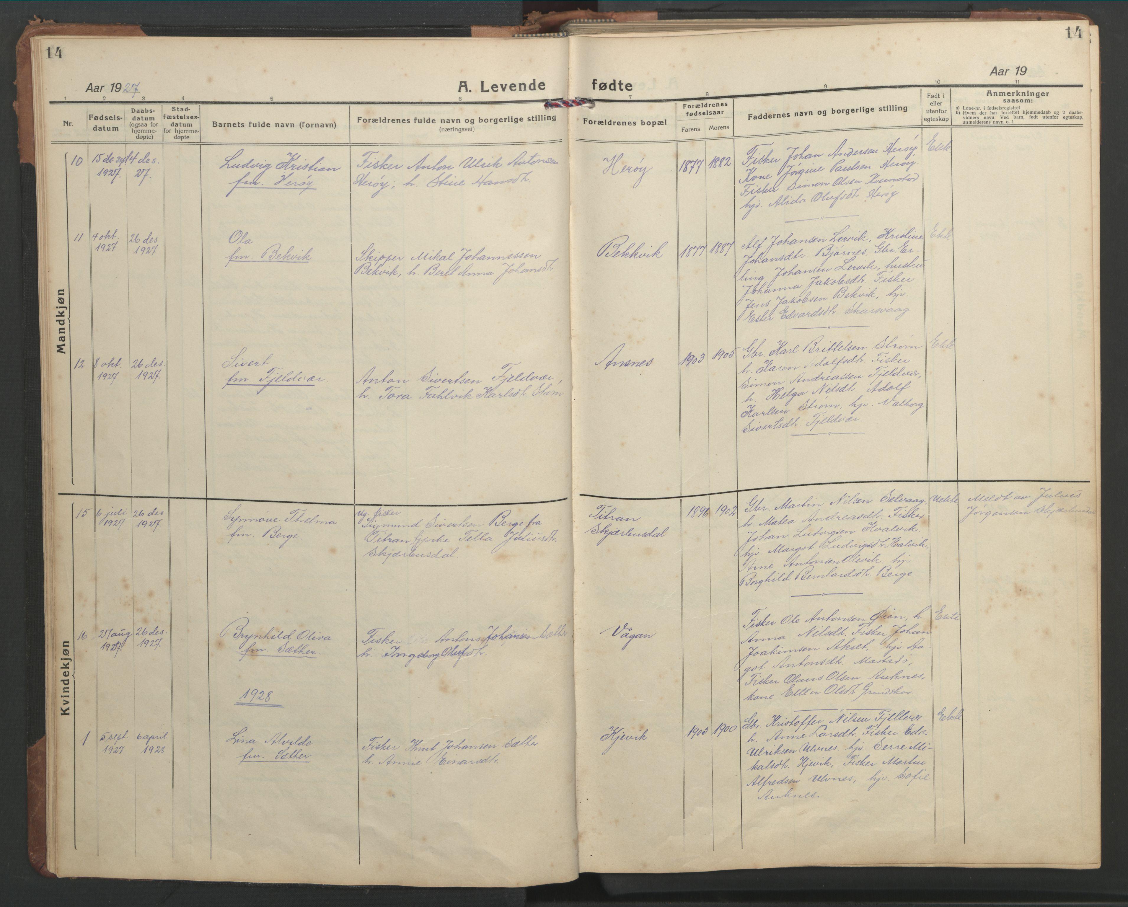 SAT, Ministerialprotokoller, klokkerbøker og fødselsregistre - Sør-Trøndelag, 638/L0569: Klokkerbok nr. 638C01, 1923-1961, s. 14