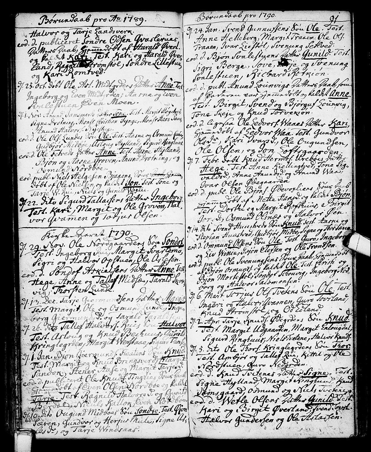 SAKO, Vinje kirkebøker, F/Fa/L0002: Ministerialbok nr. I 2, 1767-1814, s. 91
