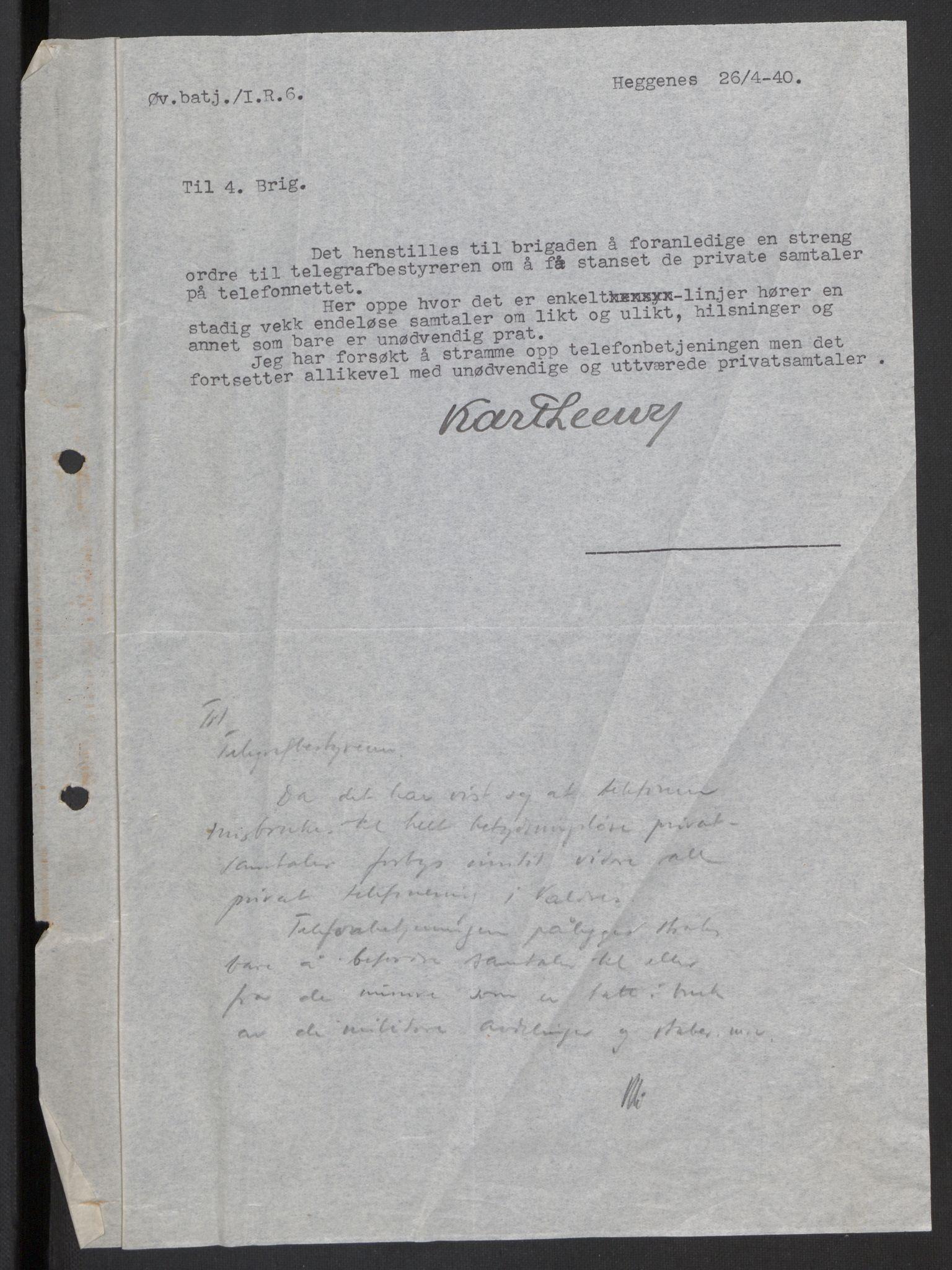 RA, Forsvaret, Forsvarets krigshistoriske avdeling, Y/Yb/L0104: II-C-11-430  -  4. Divisjon., 1940, s. 330