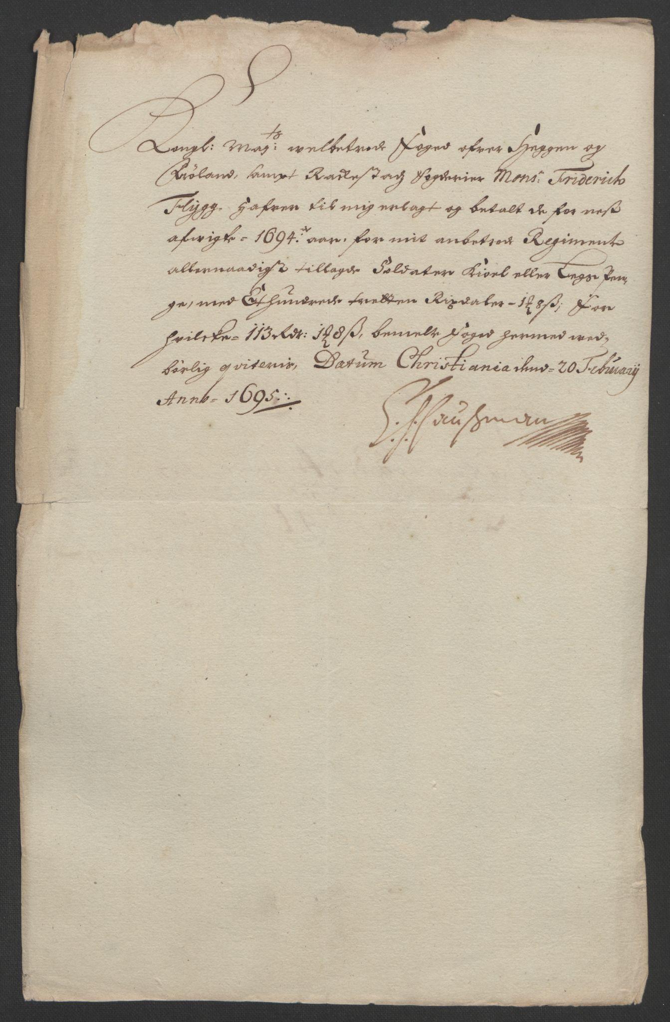 RA, Rentekammeret inntil 1814, Reviderte regnskaper, Fogderegnskap, R07/L0284: Fogderegnskap Rakkestad, Heggen og Frøland, 1694, s. 251