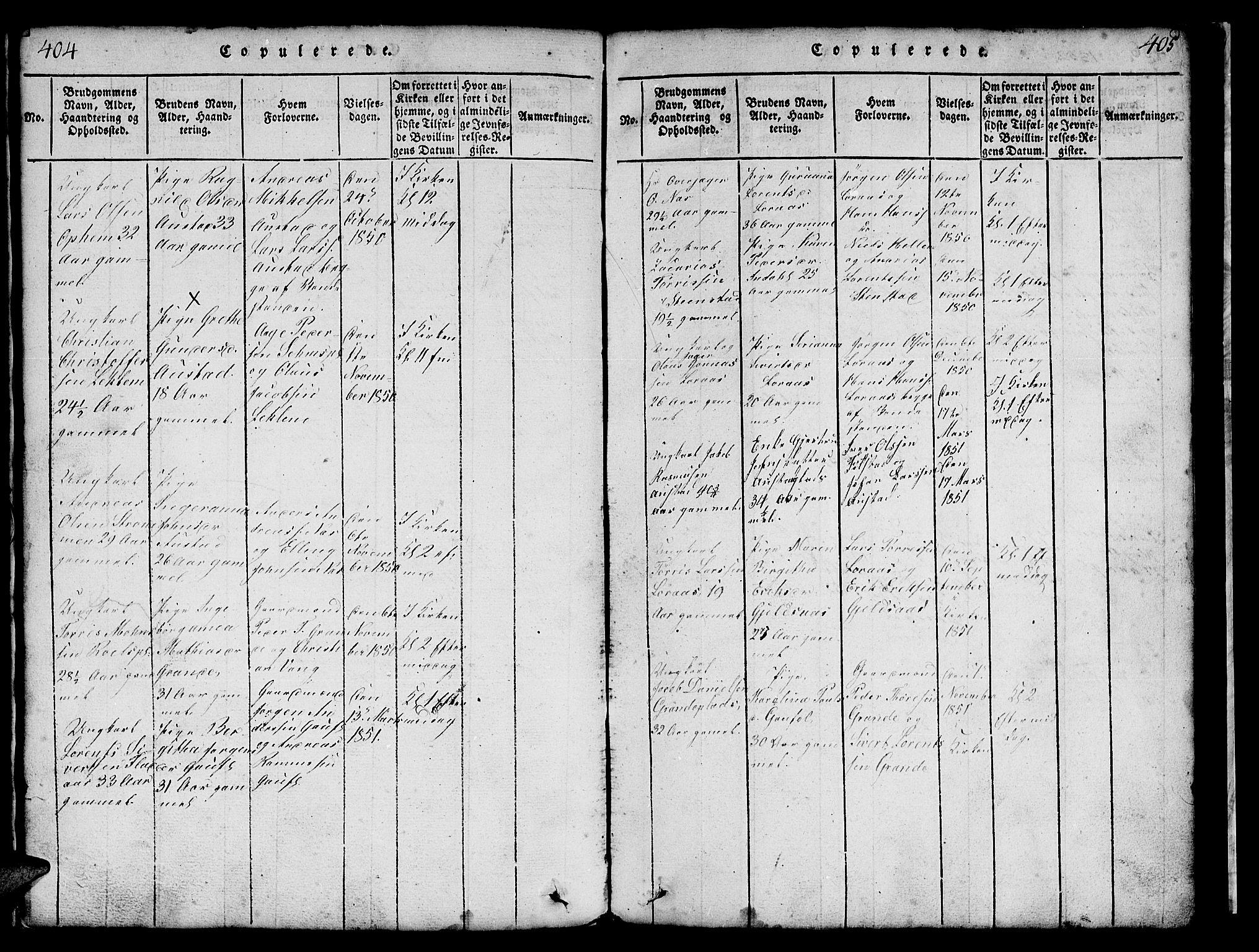 SAT, Ministerialprotokoller, klokkerbøker og fødselsregistre - Nord-Trøndelag, 731/L0310: Klokkerbok nr. 731C01, 1816-1874, s. 404-405