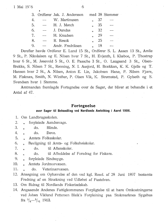 AIN, Nordland Fylkeskommune. Fylkestinget, A/Ac/L0029: Fylkestingsforhandlinger 1906, 1906, s. 6
