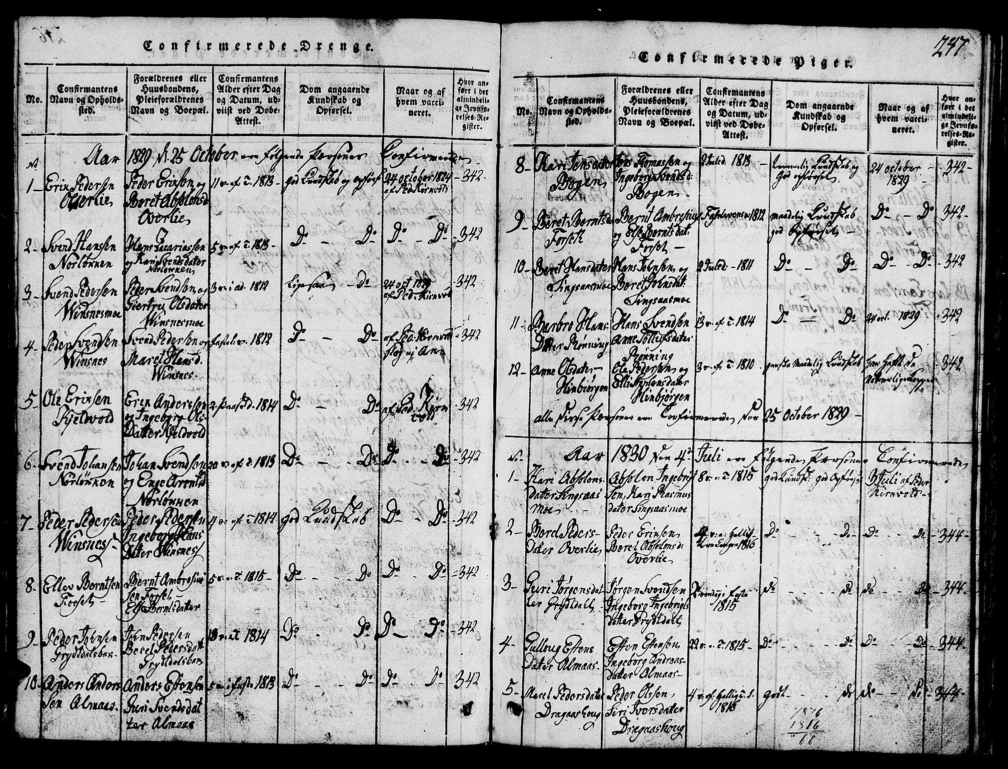 SAT, Ministerialprotokoller, klokkerbøker og fødselsregistre - Sør-Trøndelag, 688/L1026: Klokkerbok nr. 688C01, 1817-1860, s. 247