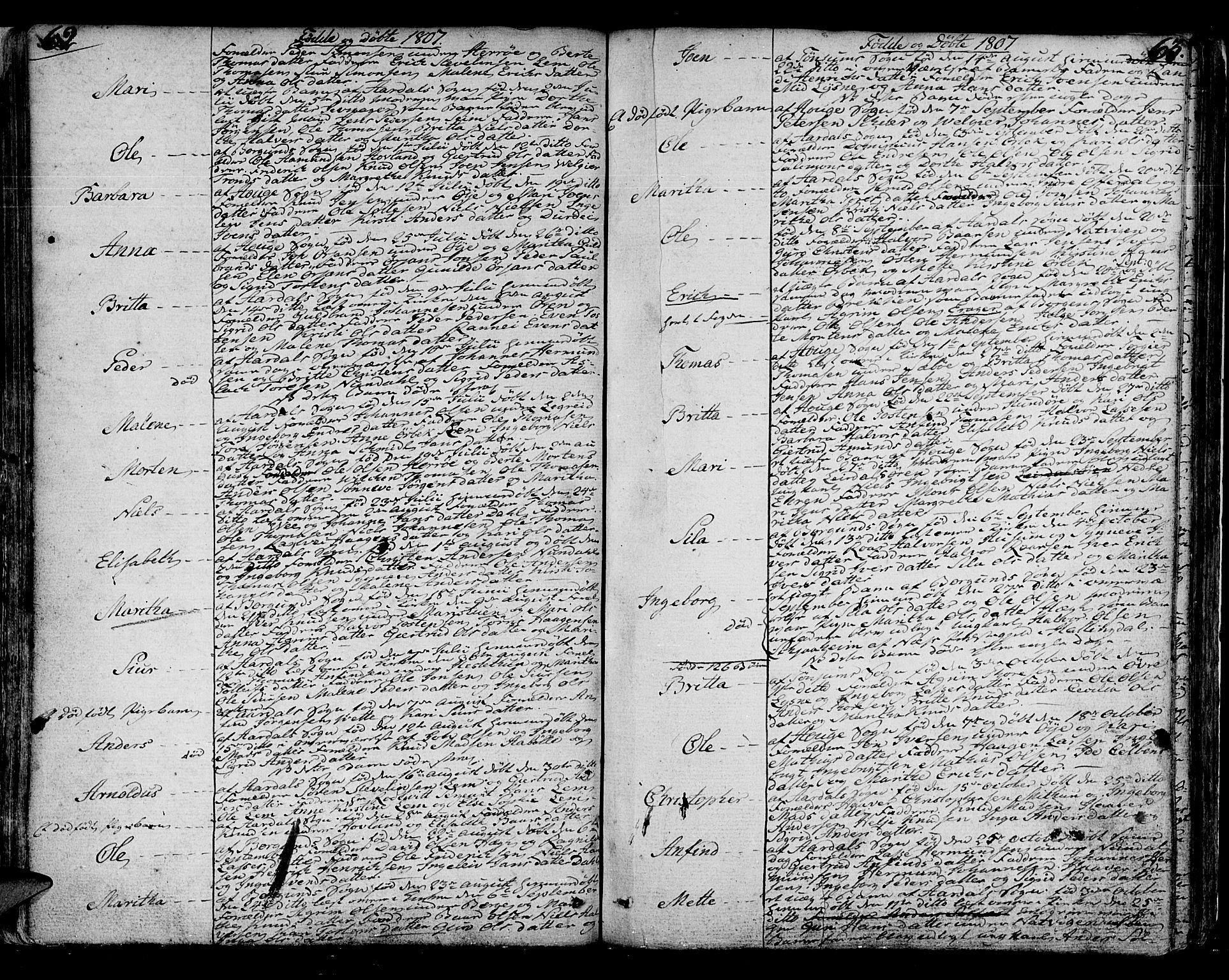 SAB, Lærdal sokneprestembete, Ministerialbok nr. A 4, 1805-1821, s. 62-63