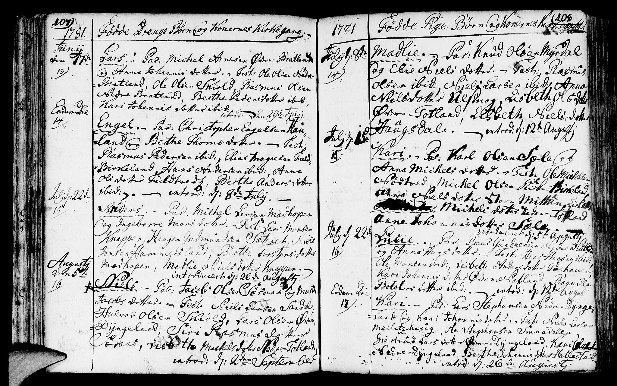 SAB, Fana Sokneprestembete, H/Haa/Haaa/L0005: Ministerialbok nr. A 5, 1773-1799, s. 107-108