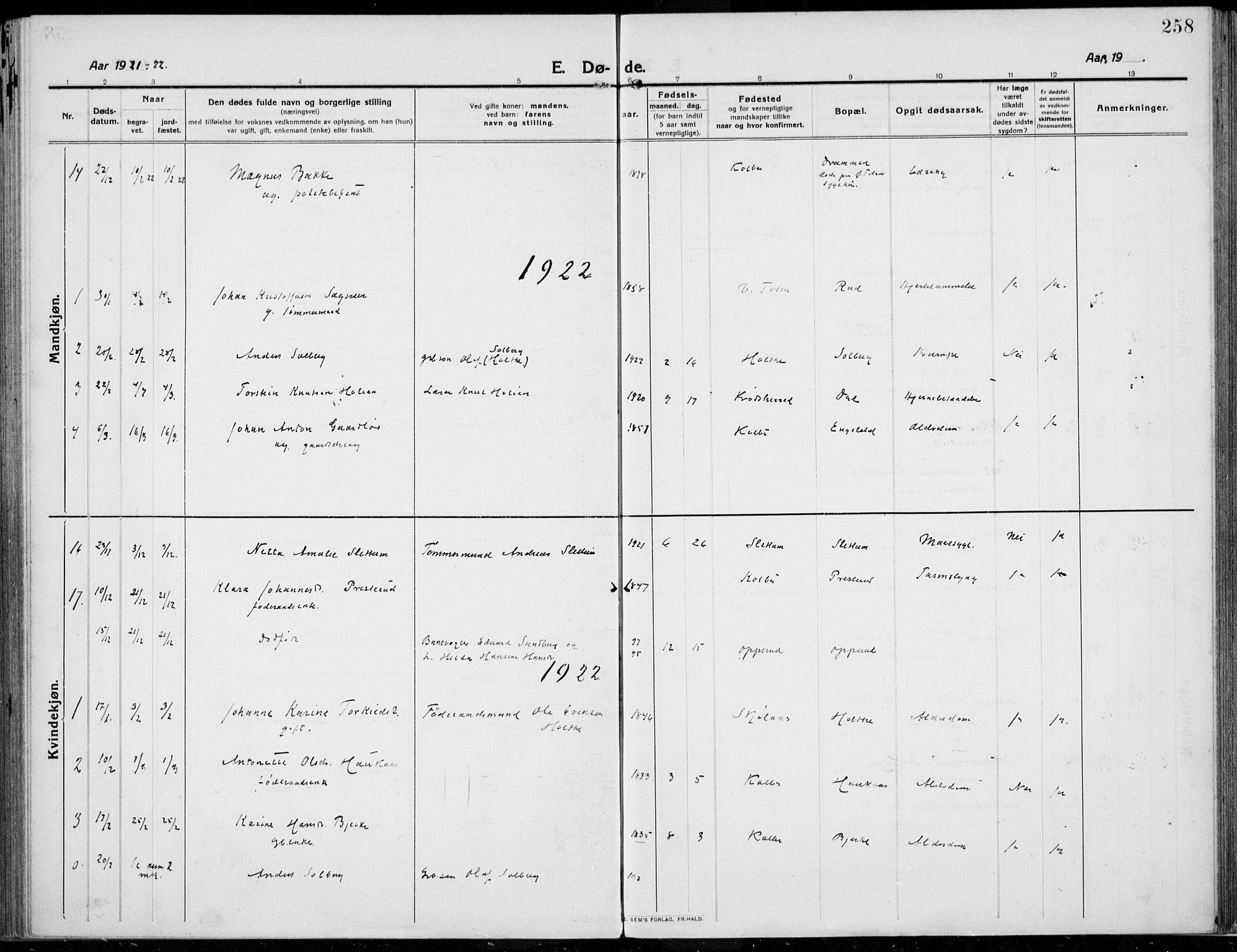 SAH, Kolbu prestekontor, Ministerialbok nr. 2, 1912-1926, s. 258