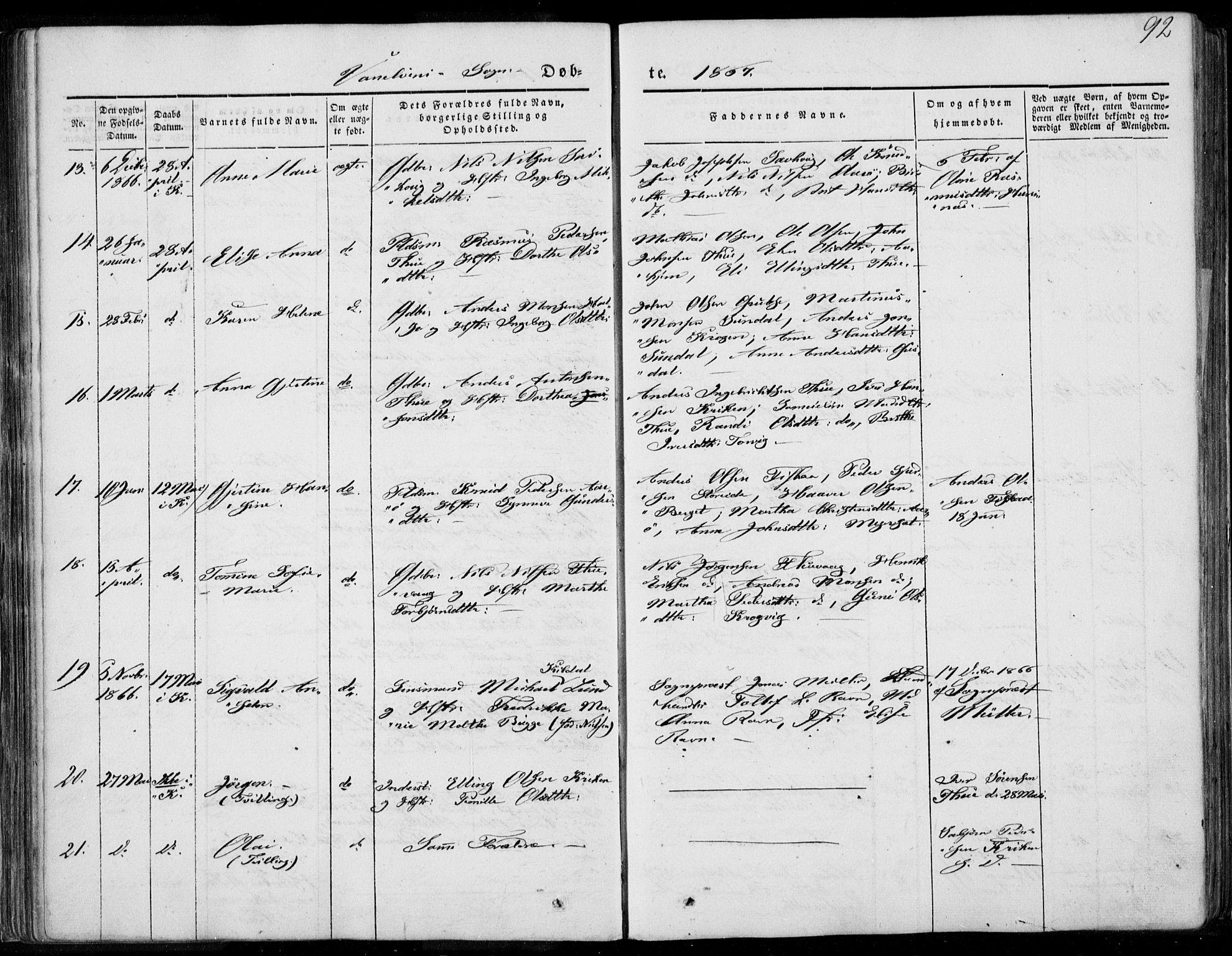 SAT, Ministerialprotokoller, klokkerbøker og fødselsregistre - Møre og Romsdal, 501/L0006: Ministerialbok nr. 501A06, 1844-1868, s. 92