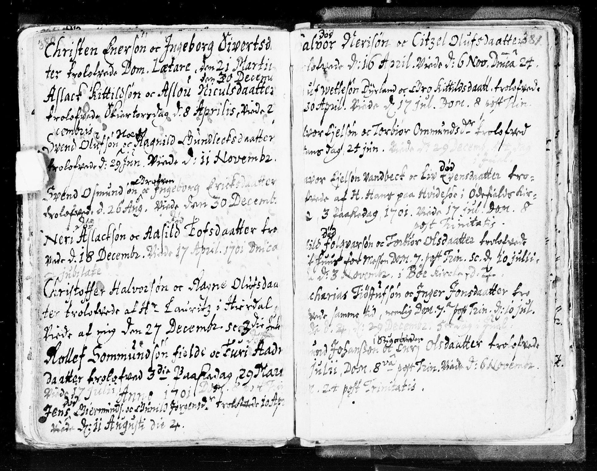 SAKO, Seljord kirkebøker, F/Fa/L0002: Ministerialbok nr. I 2, 1689-1713, s. 380-381