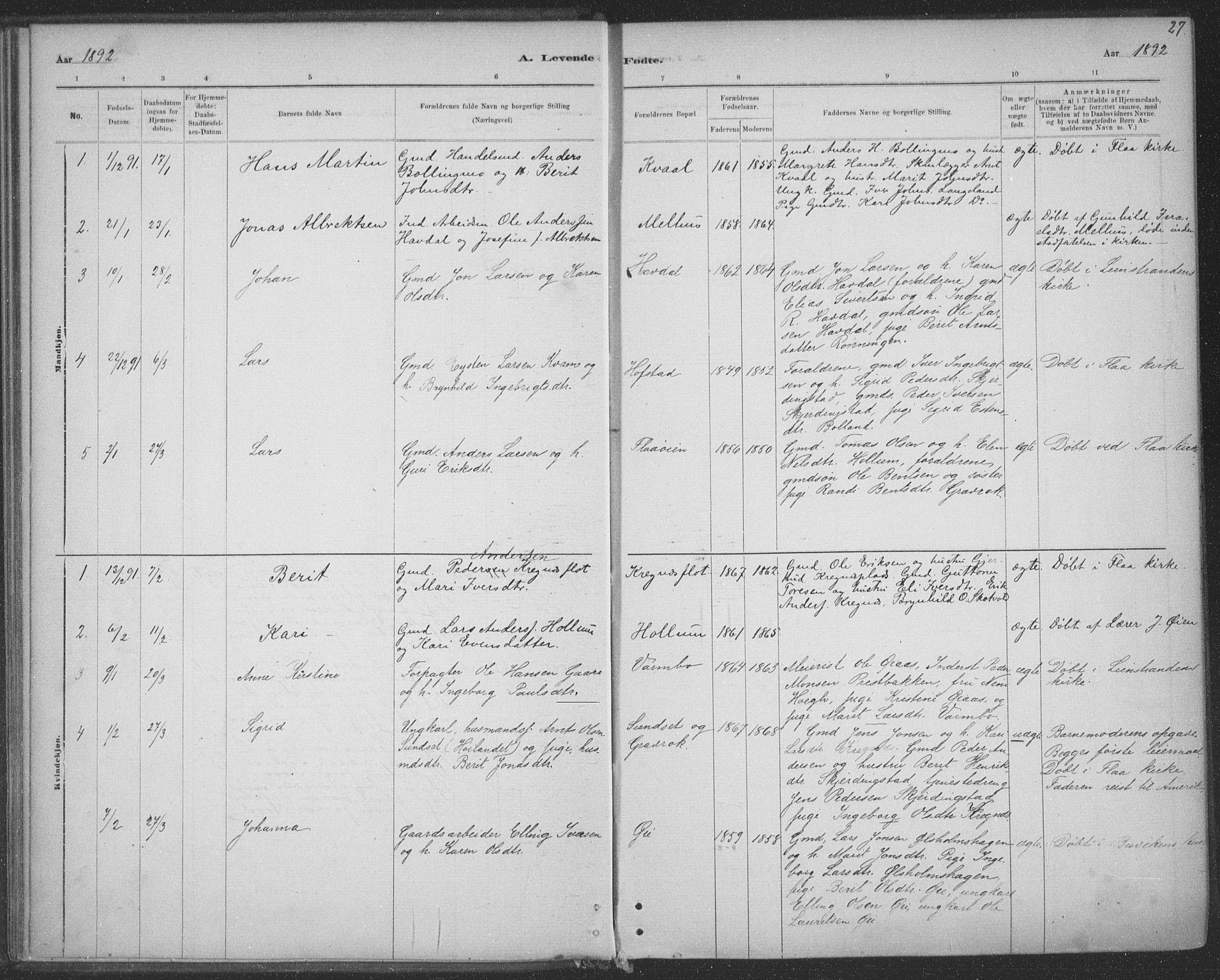 SAT, Ministerialprotokoller, klokkerbøker og fødselsregistre - Sør-Trøndelag, 691/L1085: Ministerialbok nr. 691A17, 1887-1908, s. 27