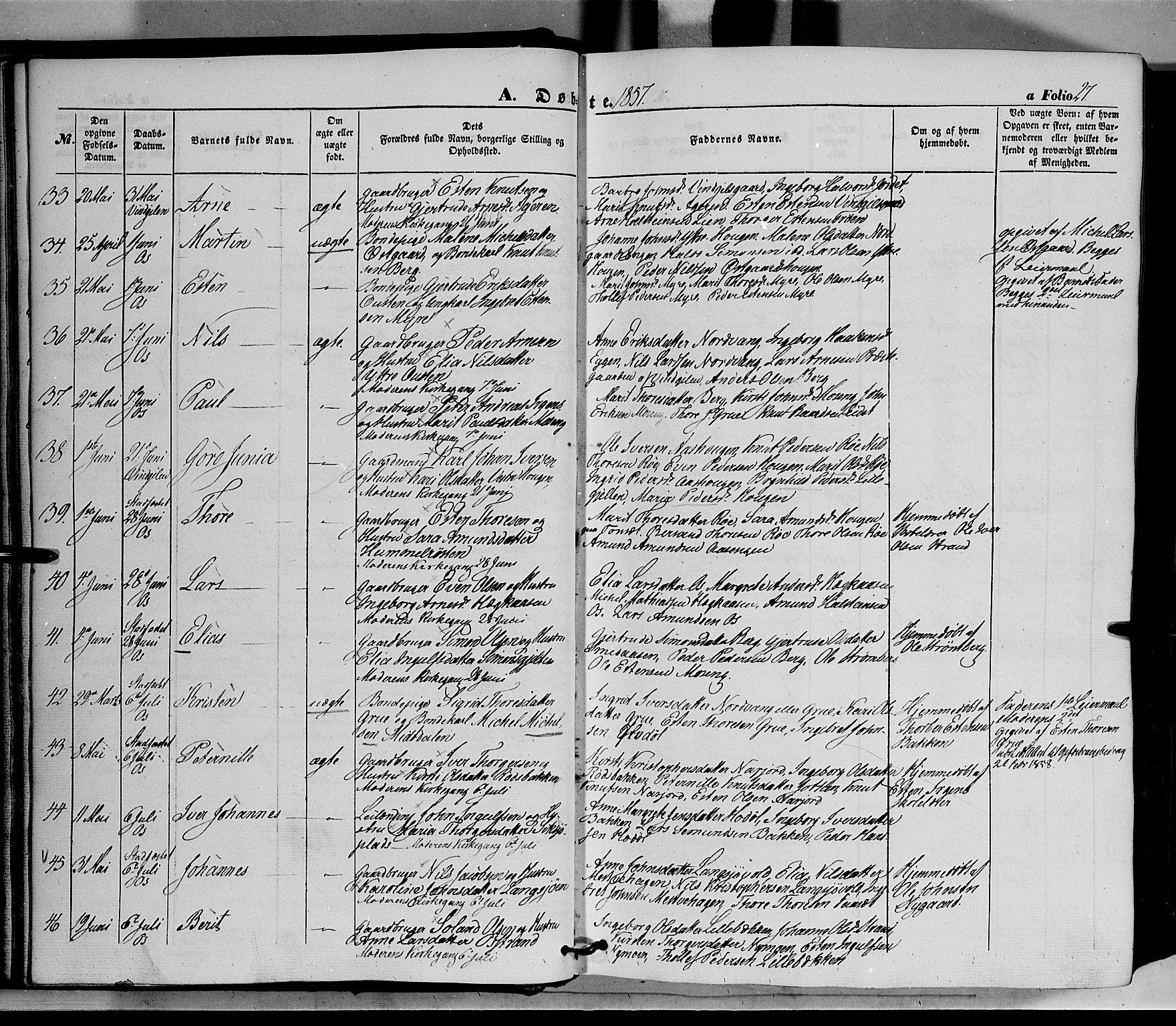 SAH, Tolga prestekontor, K/L0006: Ministerialbok nr. 6, 1852-1876, s. 27