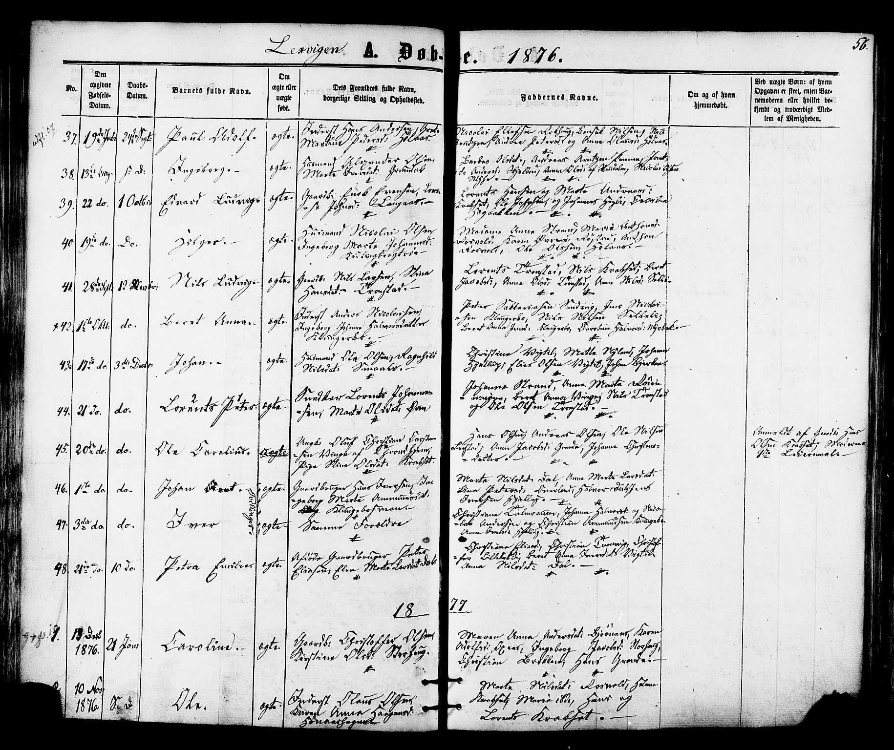 SAT, Ministerialprotokoller, klokkerbøker og fødselsregistre - Nord-Trøndelag, 701/L0009: Ministerialbok nr. 701A09 /1, 1864-1882, s. 56