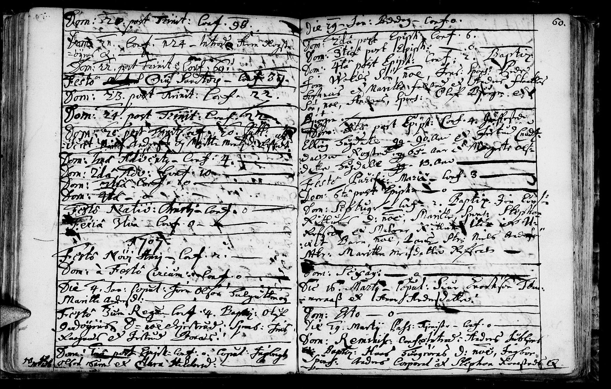 SAT, Ministerialprotokoller, klokkerbøker og fødselsregistre - Sør-Trøndelag, 687/L0990: Ministerialbok nr. 687A01, 1690-1746, s. 60