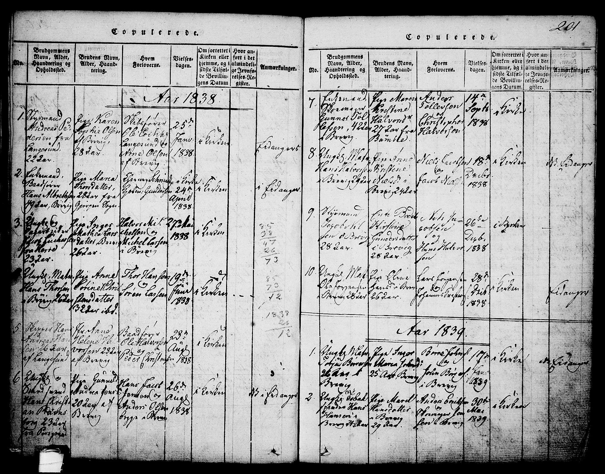 SAKO, Brevik kirkebøker, G/Ga/L0001: Klokkerbok nr. 1, 1814-1845, s. 201