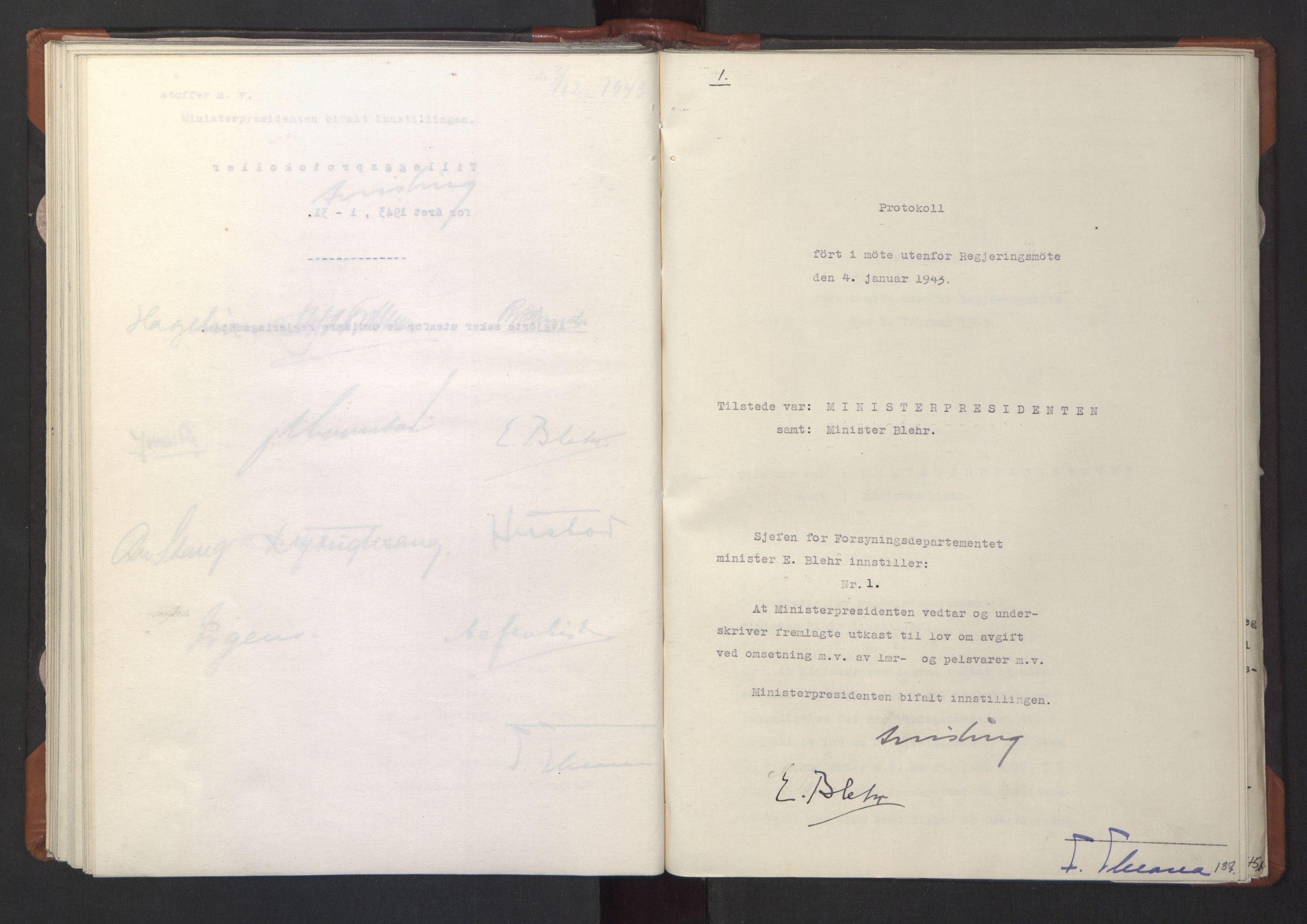 RA, NS-administrasjonen 1940-1945 (Statsrådsekretariatet, de kommisariske statsråder mm), D/Da/L0003: Vedtak (Beslutninger) nr. 1-746 og tillegg nr. 1-47 (RA. j.nr. 1394/1944, tilgangsnr. 8/1944, 1943, s. 136b-137a