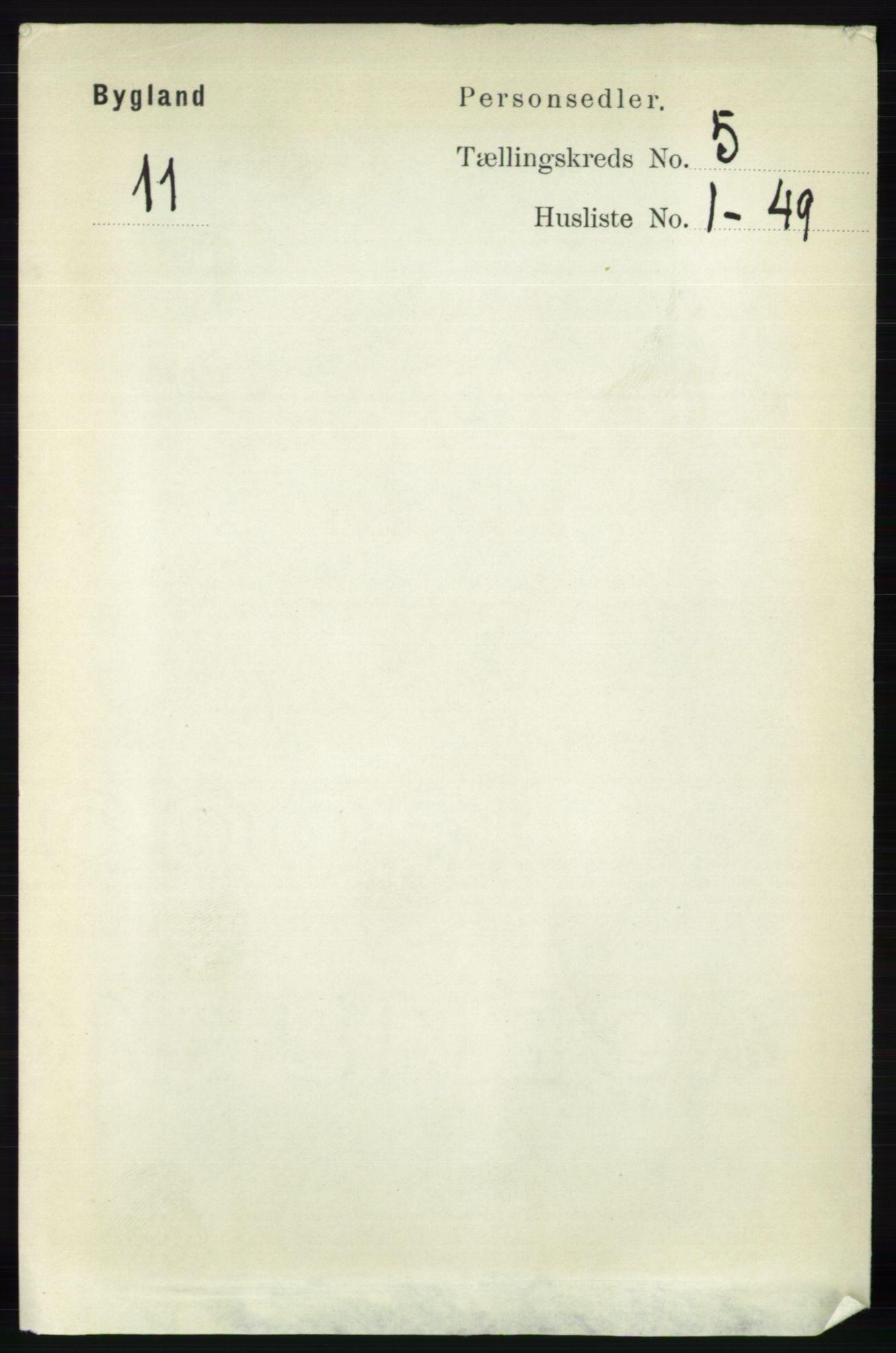 RA, Folketelling 1891 for 0938 Bygland herred, 1891, s. 1049