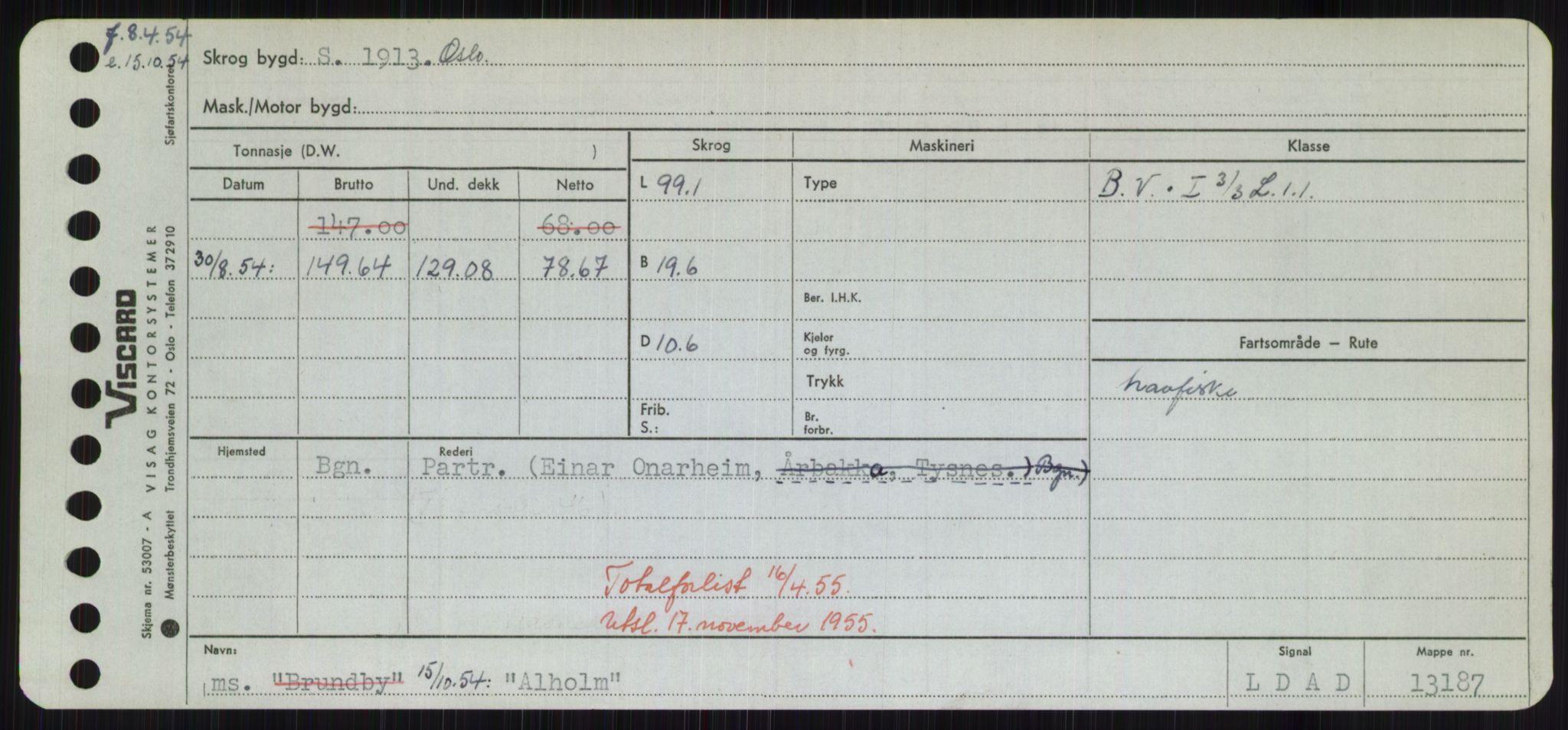 RA, Sjøfartsdirektoratet med forløpere, Skipsmålingen, H/Hd/L0001: Fartøy, A-Anv, s. 341